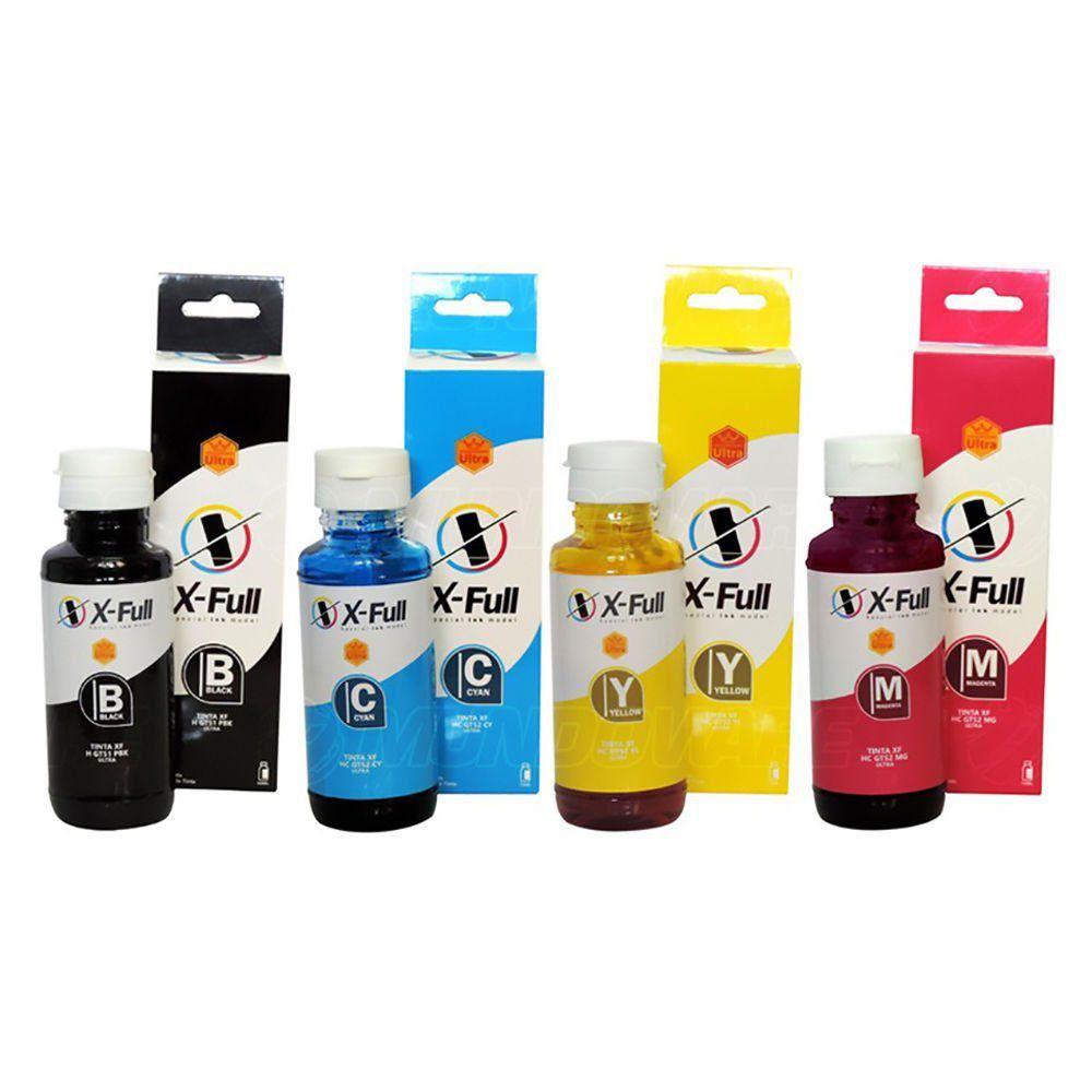 Compatível: Kit Colorido de Tinta X-Full Ultra para Impressora HP Série GT GT5822 GT5810 GT5820 5822 5810 5820 Tank 316