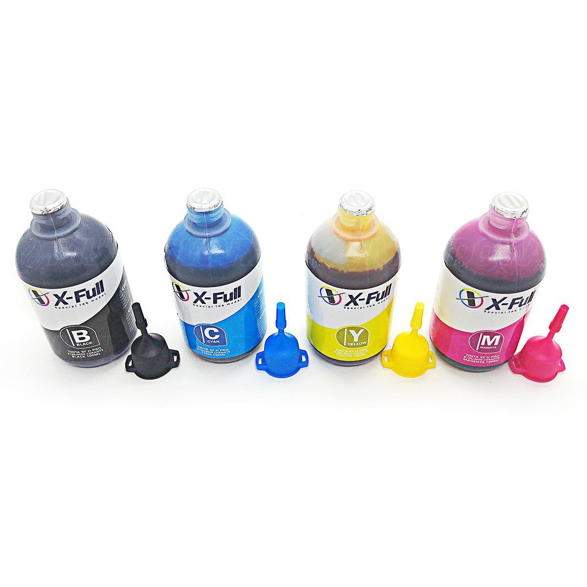 Compatível: Kit Colorido de Tinta Corante X-Full para HP Pro 8600 8500 8100 8000 X576dw X551dw X476dw X451dw / 4x100ml
