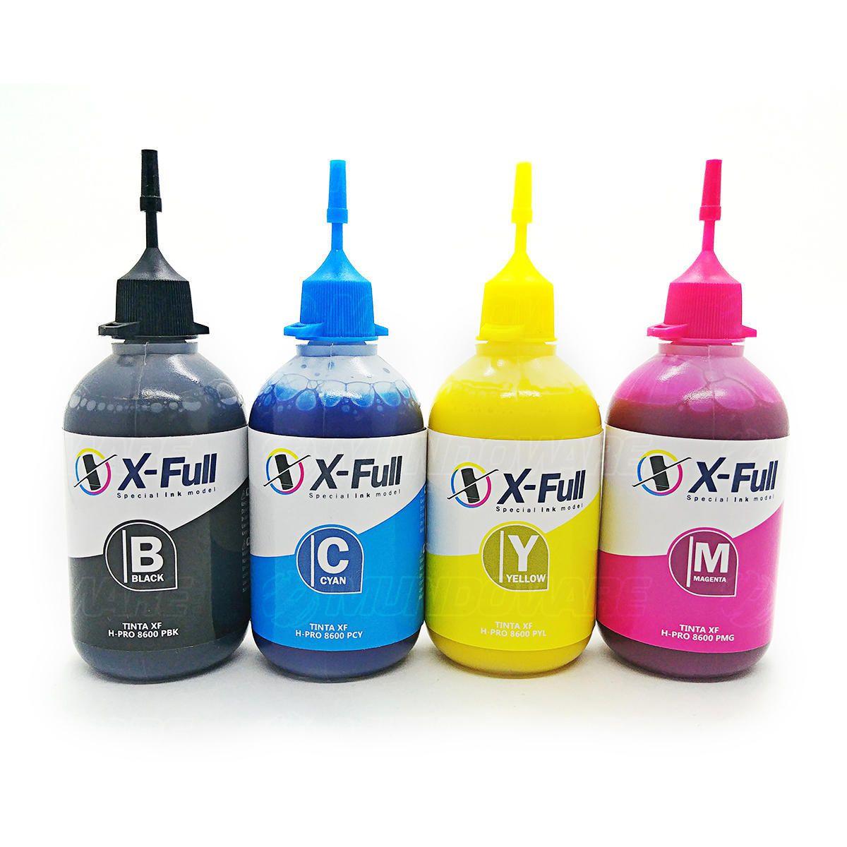 Compatível: Kit Colorido de Tinta Pigmentada X-Full para HP 8000 8100 8500 8600 X451dw X551dw X476dw X576dw / 4x100ml