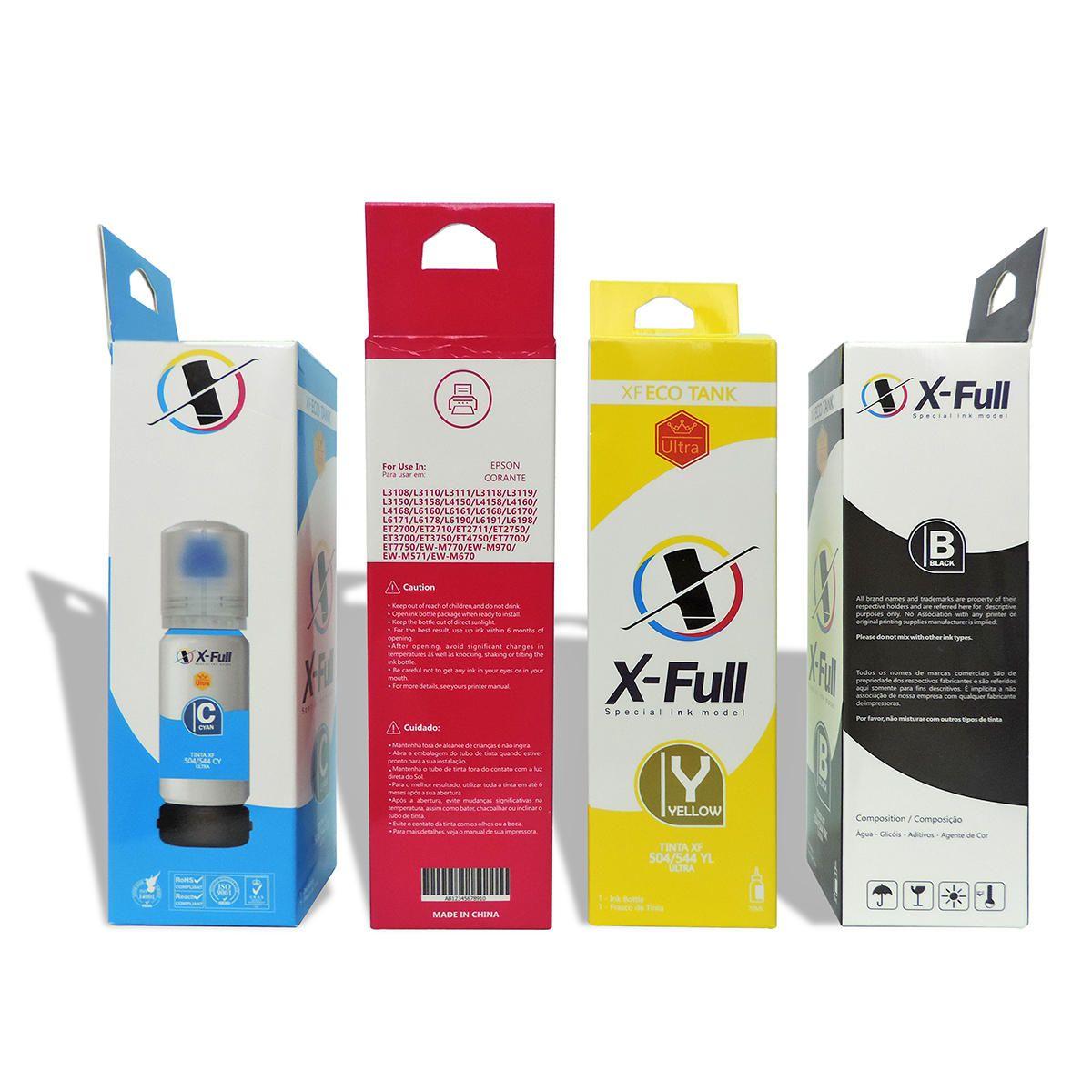 Compatível: Kit Colorido de Tinta X-Full para Epson L3108 L3110 L4150 L4160 L4168 L6191 / Preta Pigmentada e CYM Corante