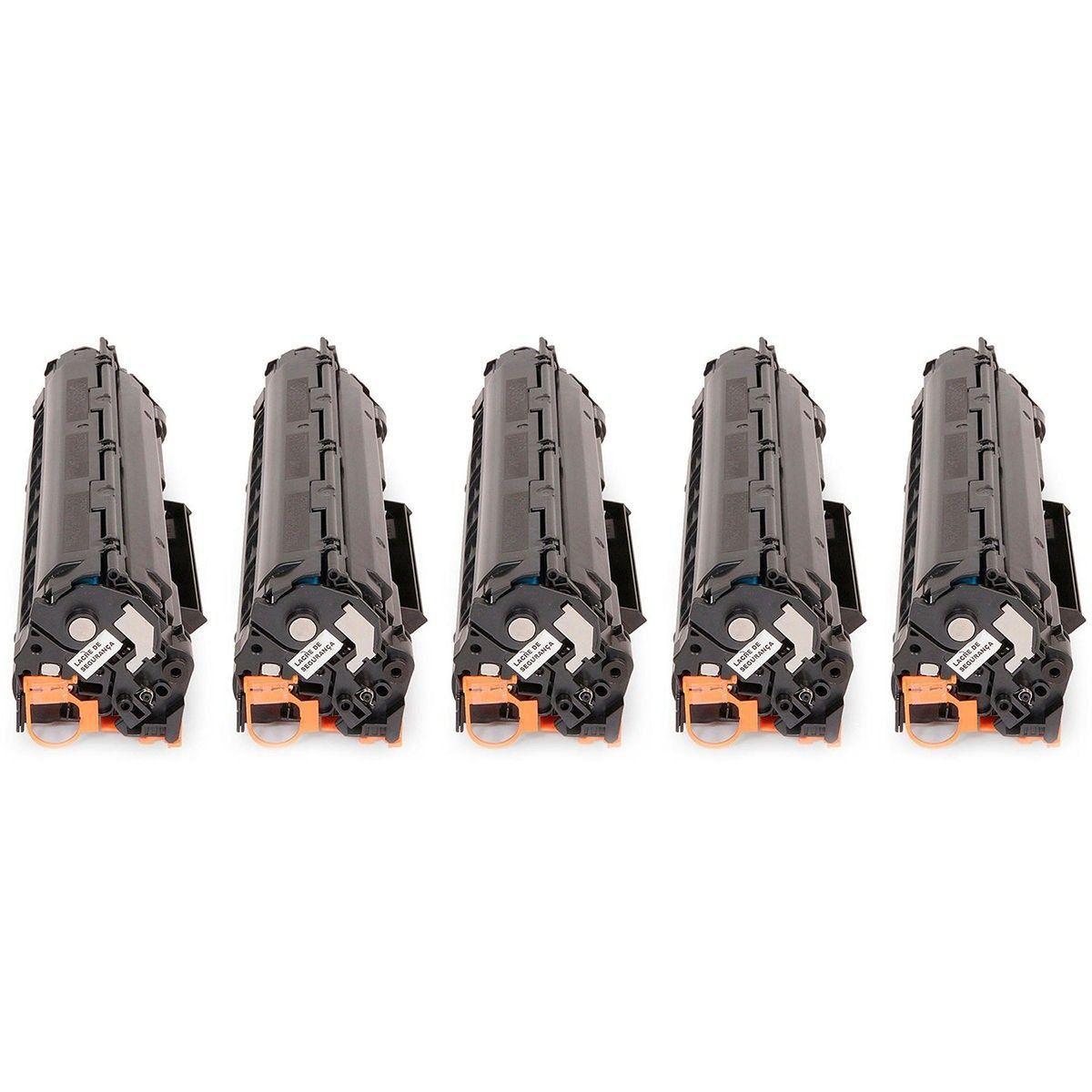 Compatível: Kit 5x Toner 35A 36A 85A para HP P1102W P1102 P1109W P1109 M1132 M1210 M1212 P1005 P1006 / Preto / 1.800