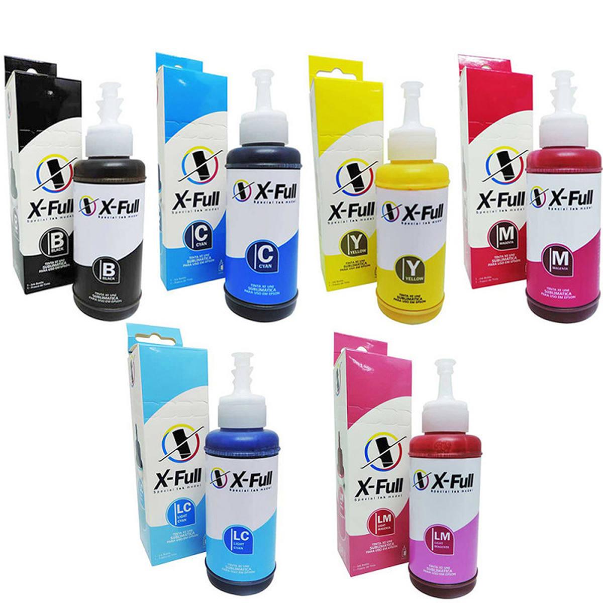 Kit 6 Cores de Tinta Sublimática X-Full para uso em todas as Impressoras Epson L Series 664 / Refil 6x100ml