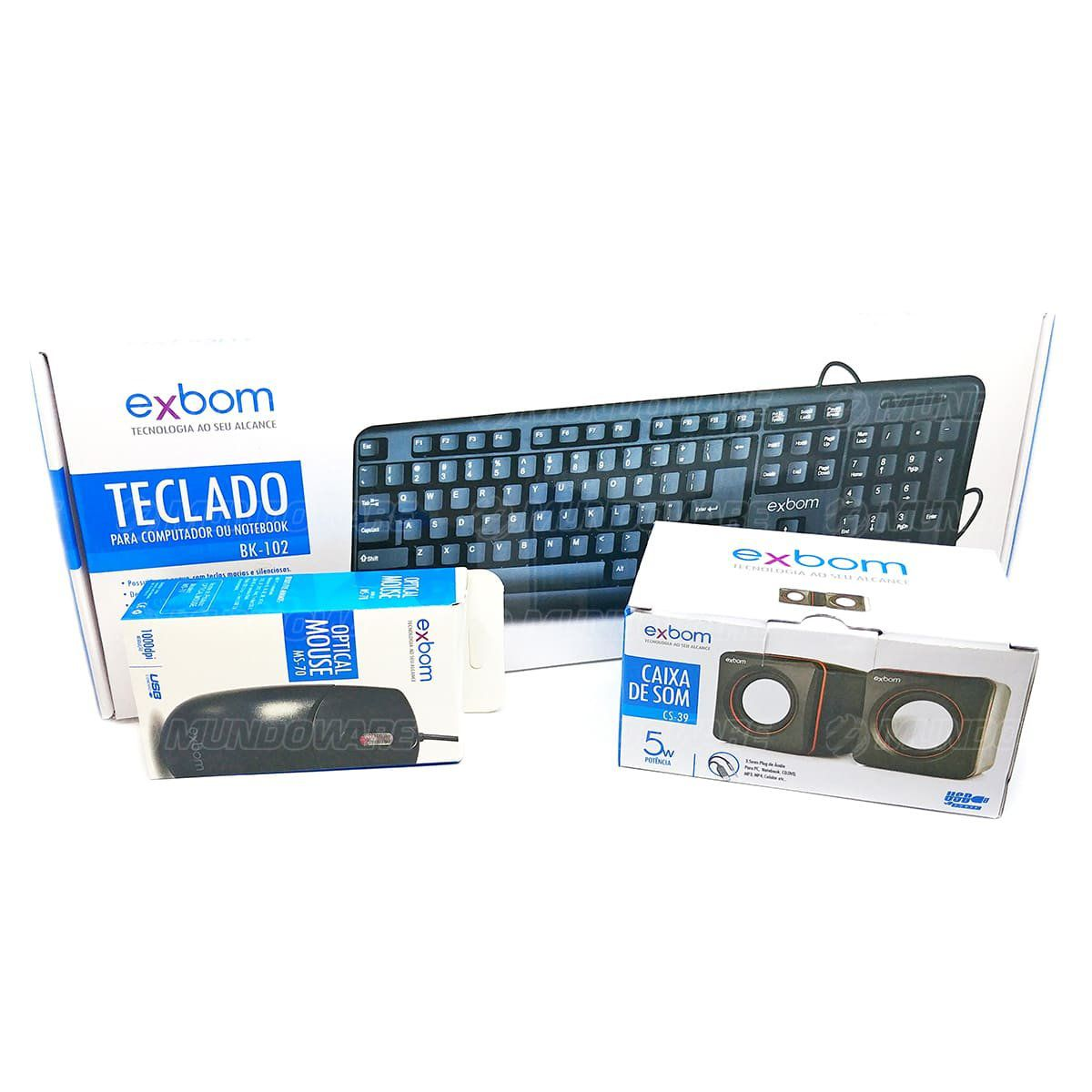 Kit Estação de Trabalho Básico com Teclado, Mouse e Caixas de Som para Computador