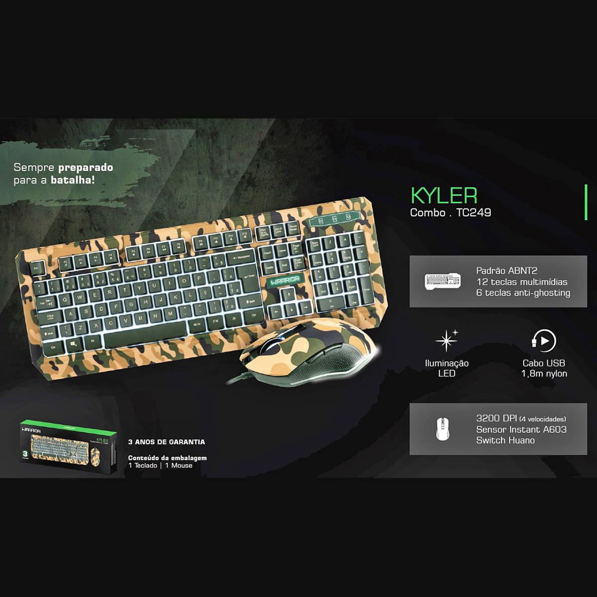 Kit Gamer Warrior Kyler com Teclado e Mouse LED Army USB Camuflados TC249