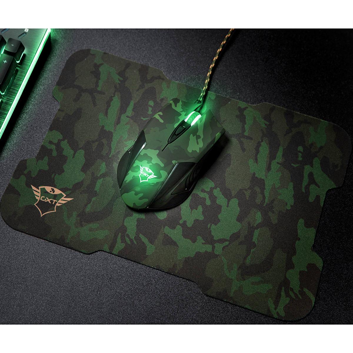 Kit Mouse & Mousepad Gaming 6 Botões 3200 DPI Seletor de Velocidade Iluminação LED Pulsante Trust GXT 781 Rixa Camo