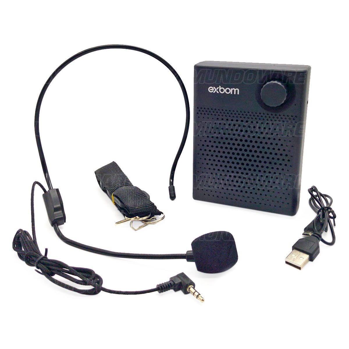 Megafone Amplificador Bluetooth com Headset 7W Bateria 1200mAh Recarregável Alça de Ombro Exbom CS-B16BT Preto