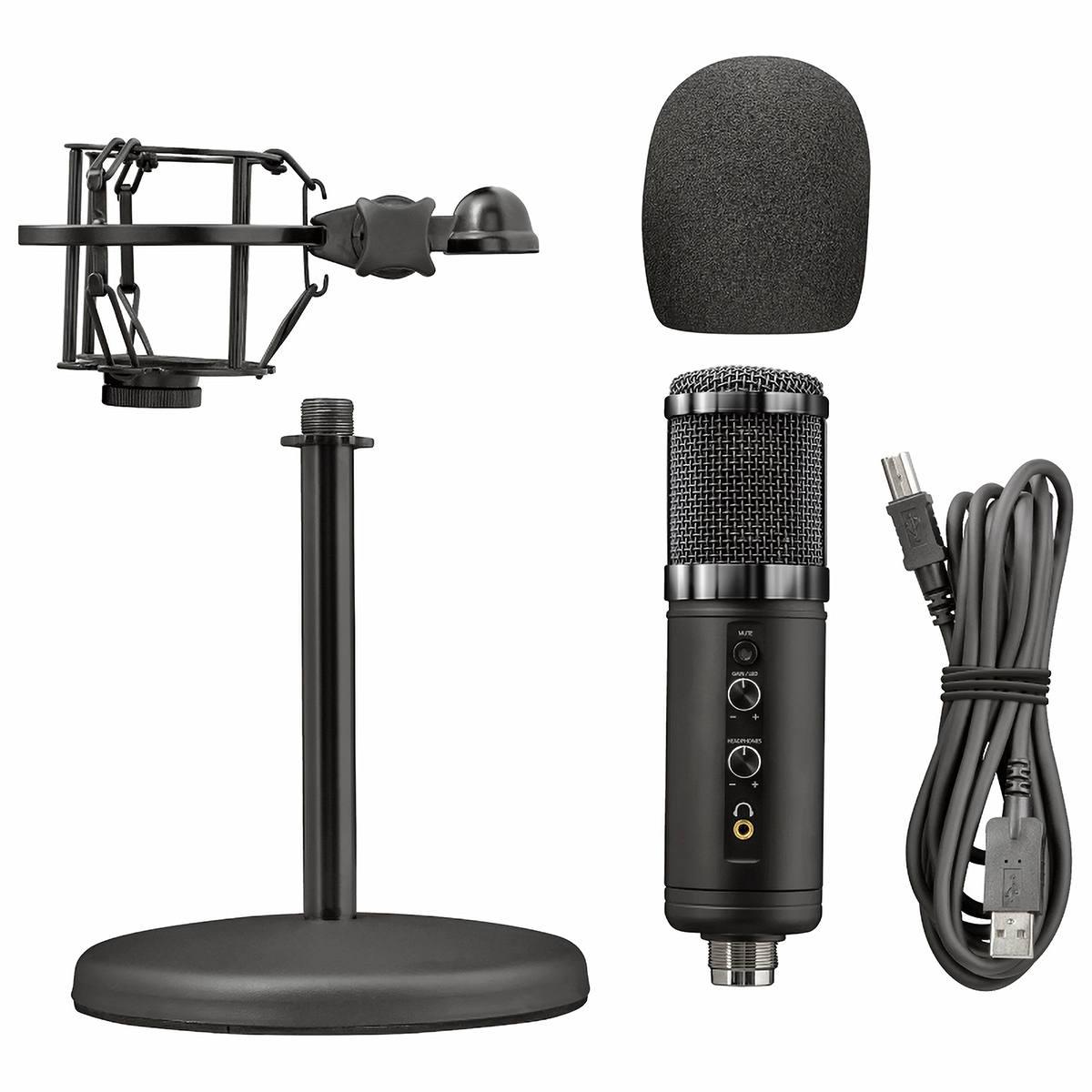 Microfone de Mesa USB Cardioide de Alta Precisão para Gravação de Voz com Redução de Ruído Trust GXT 256 Exxo