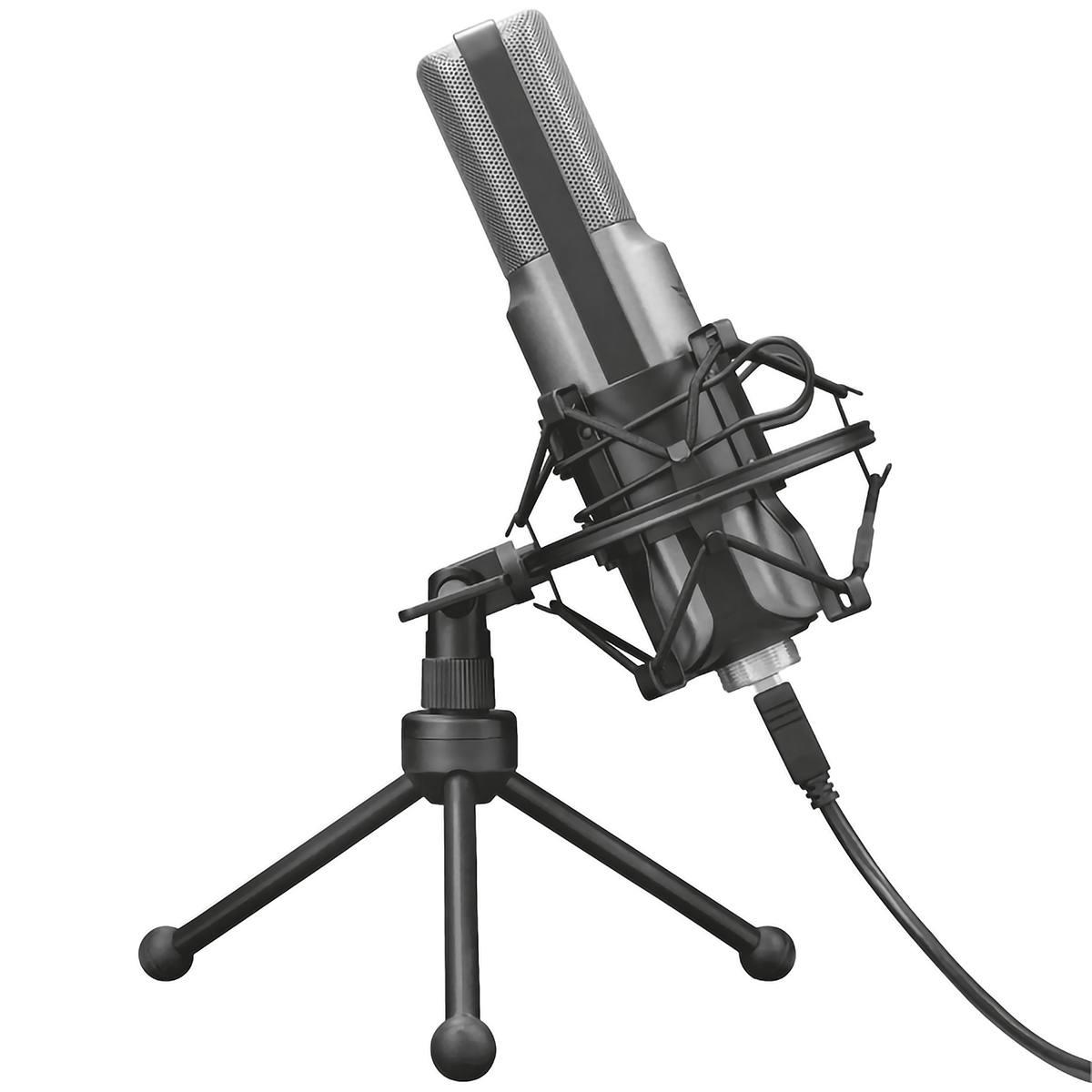 Microfone de Mesa Cardioide Unidirecional com Tripé Filtro Pop Montagem de Choque e Antivibrações Trust GXT 242 Lance