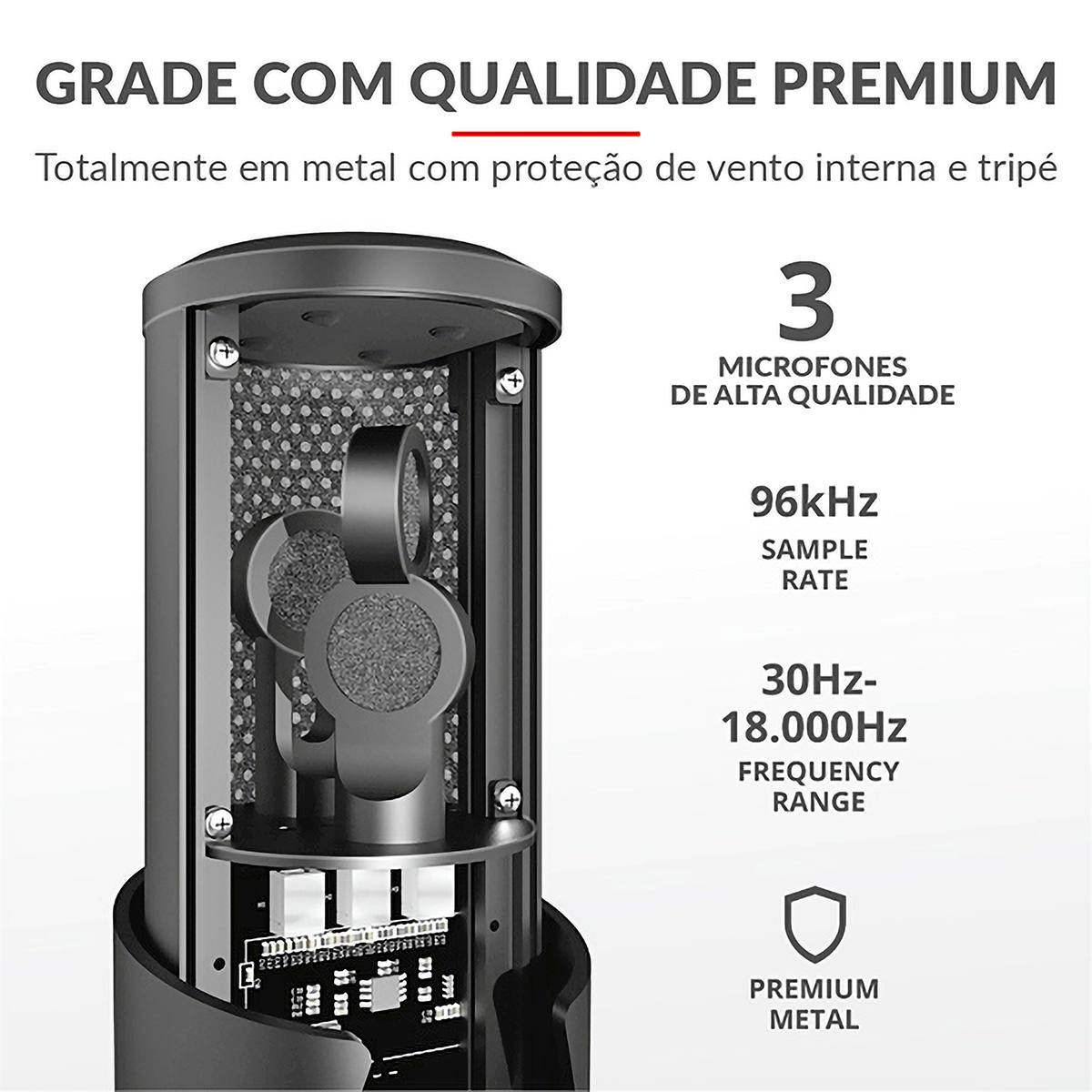 Microfone de Mesa USB 4 em 1 Omnidirecional Bidirecional Cardioide e Estéreo Monitor de Latência Zero Trust GXT 258 Fyru