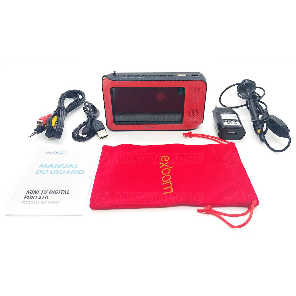 "Mini TV Digital Portátil 4.3"" Suporta 1080p Full HD Entrada USB MicroSD Rádio FM ISDBT Exbom MTV-45H"