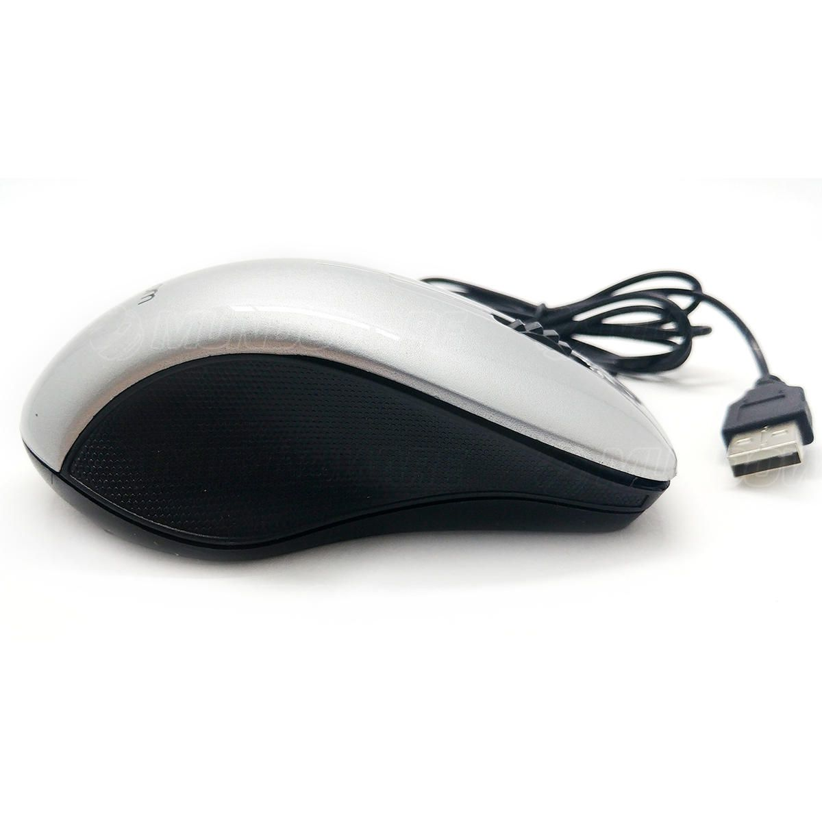 Mouse com cabo USB 1000DPIs Exbom MS47 Prata com Acabamento Brilhante