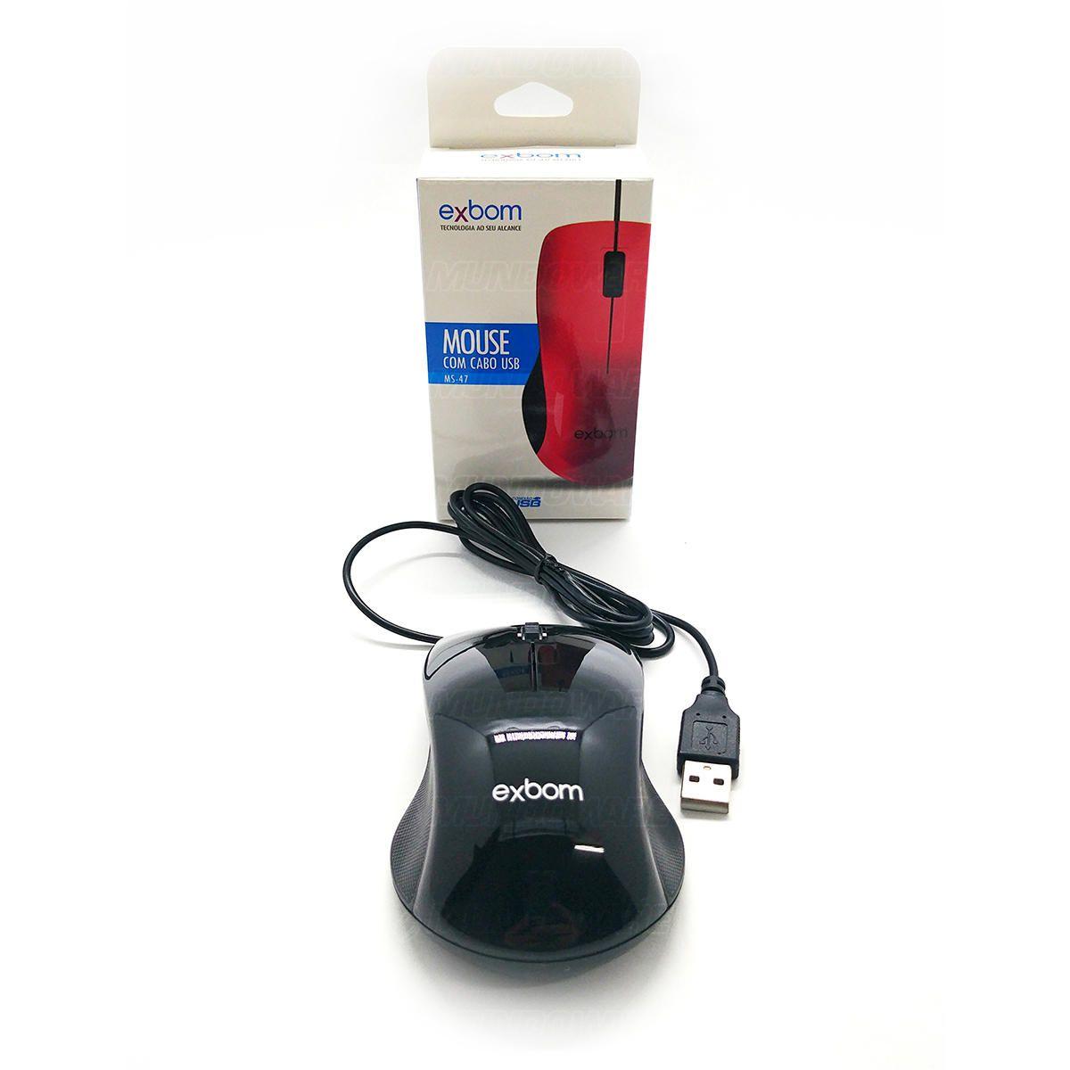 Mouse com cabo USB 1000DPIs Exbom MS47 Preto com Acabamento Brilhante