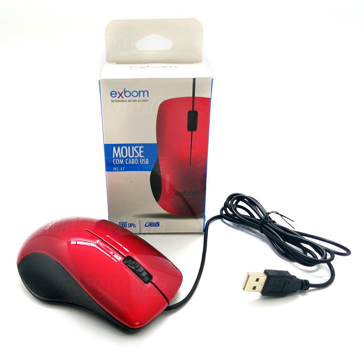 Mouse com cabo USB 1000DPIs Exbom MS47 Vermelho com Acabamento Brilhante