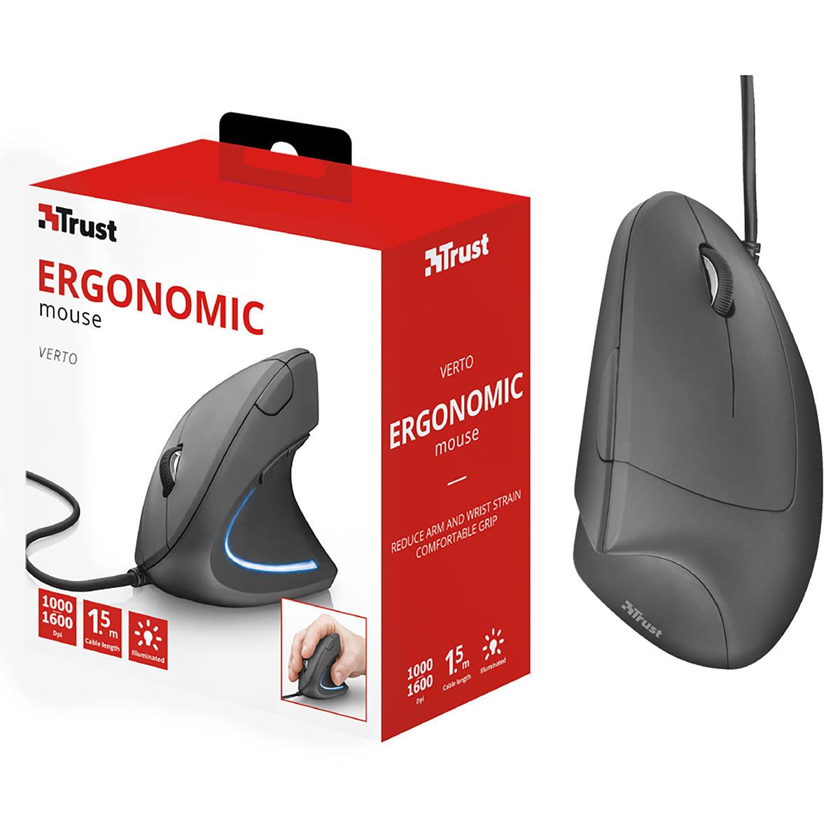 Mouse Ergonômico Vertical com Fio USB Reduz Tensões no Braço/Pulso e Apoio para Polegar Trust Verto
