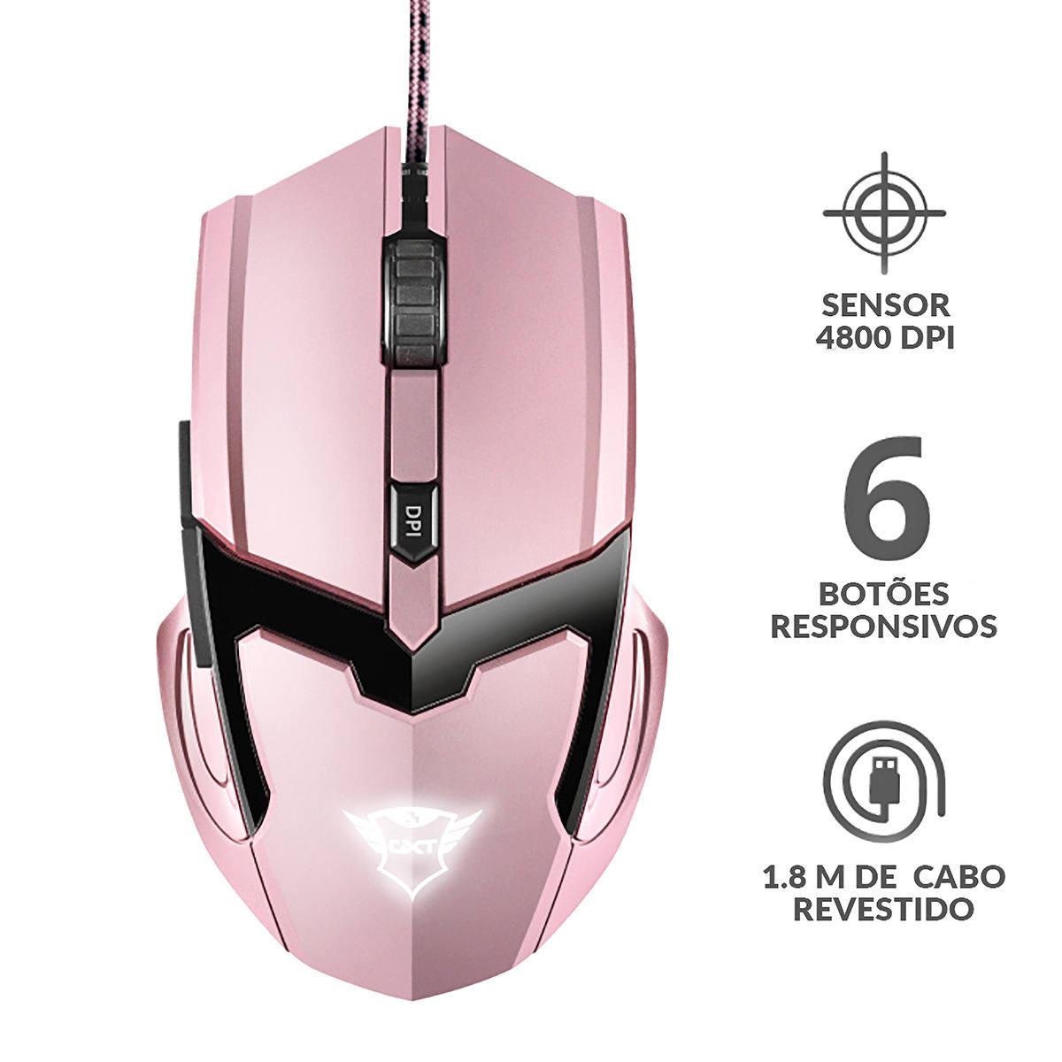 Mouse Gamer 4800 DPI com Fio Precisão para Jogos DPI Ajustável 6 Botões Trust GXT 101P GAV Pink