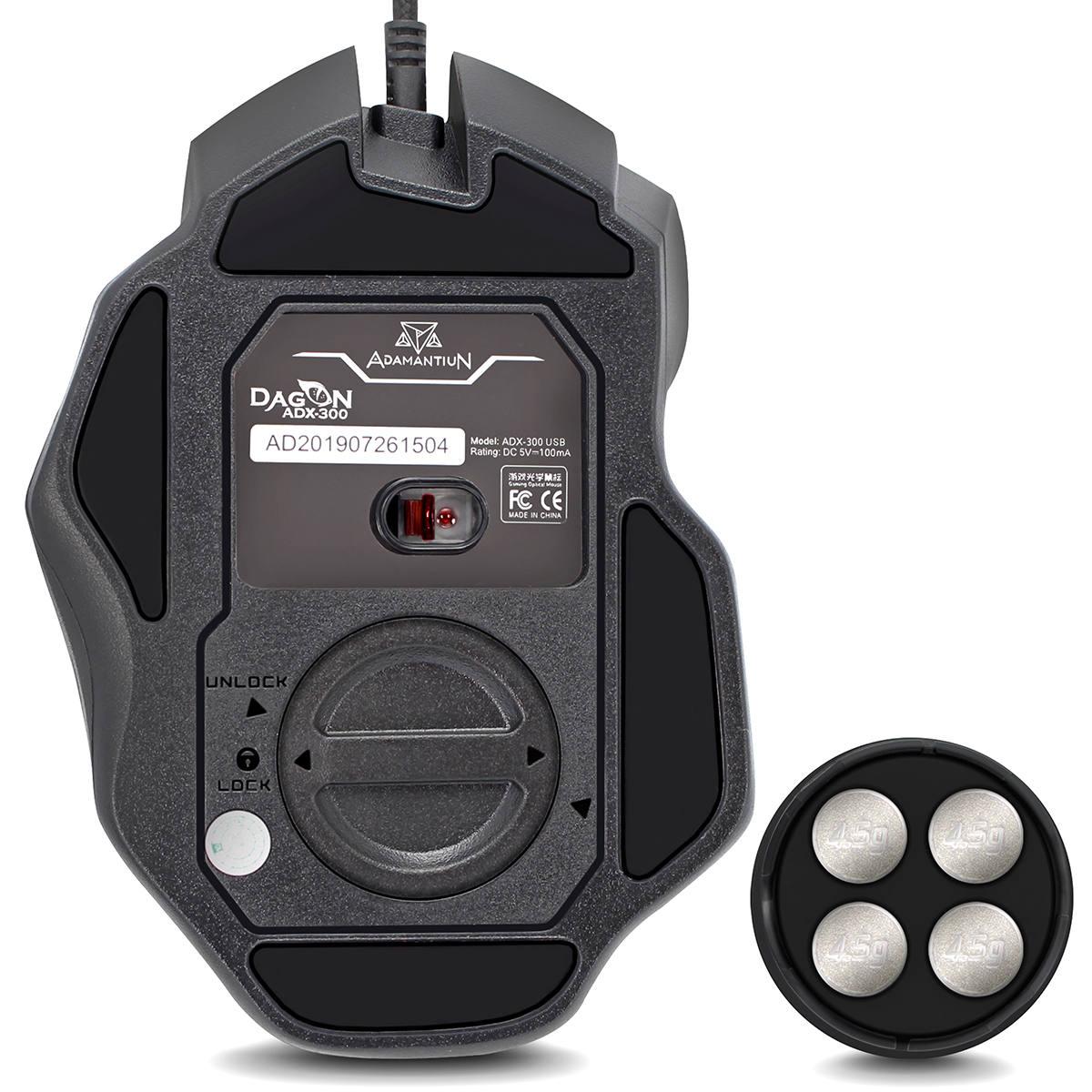 Mouse Gamer com Ajuste de Pesos 7 Botões Macro com Memória Interna 6400 DPI Pegada Palm Grip Adamantiun Dagon ADX-300