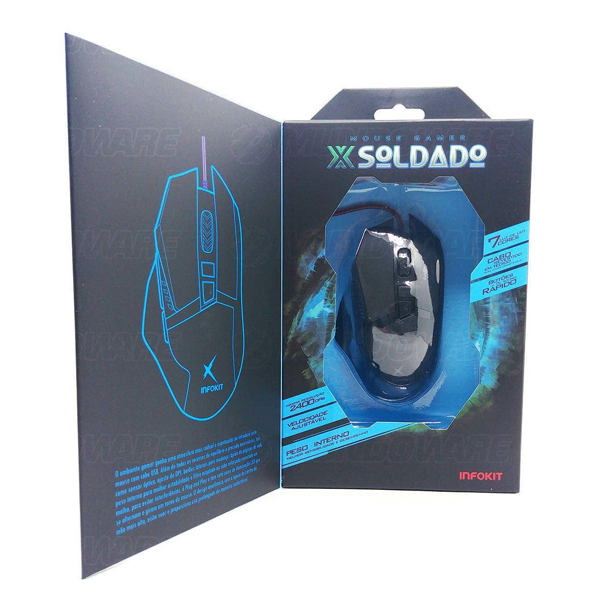 Mouse Gamer Soldado USB Iluminação LED em 7 Cores Textura Emborrachada Infokit GM-601 Preto