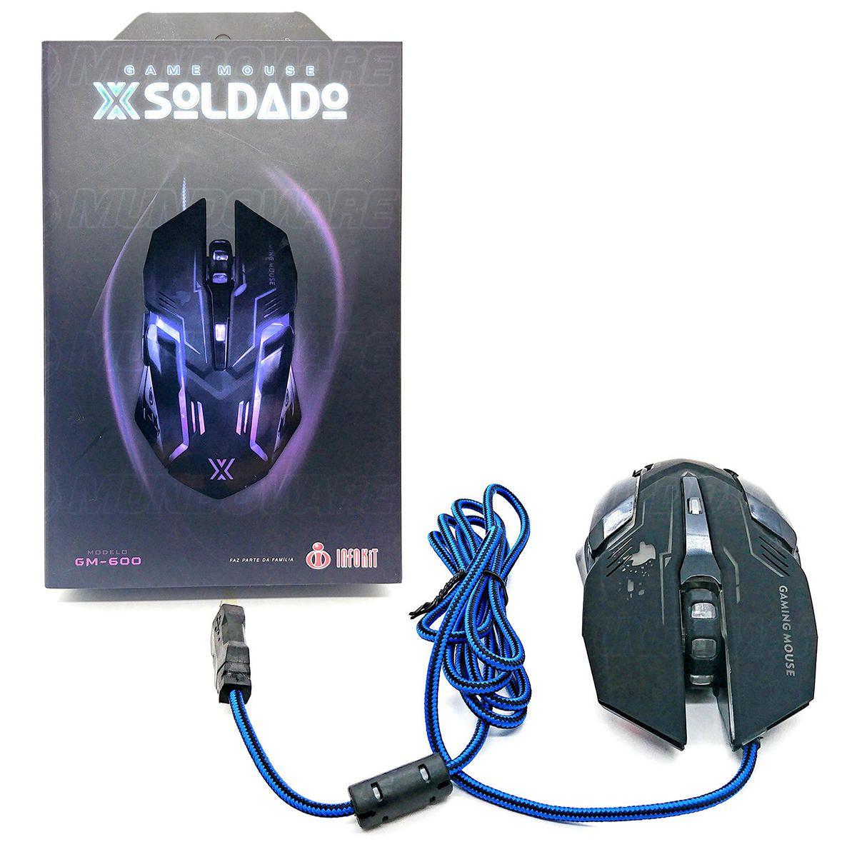 Mouse Gamer USB 3200dpi Iluminação LED RGB 6D X Soldado Infokit GM-600 Preto