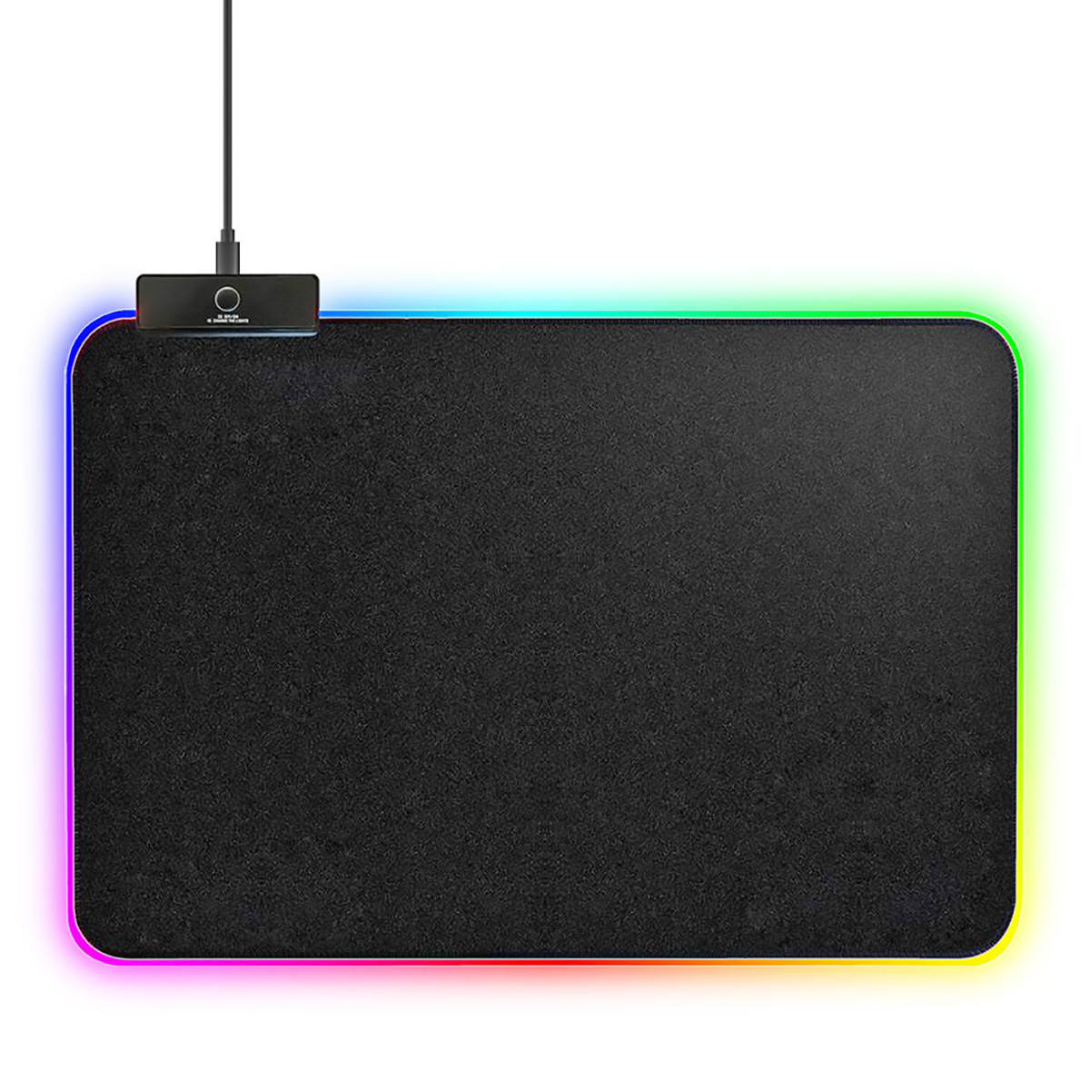Mouse Pad Gamer com Borda de LED 350x250x3mm 14 Modos Espectro Backlighting em 7 Cores USB Power Exbom MP-LED2535