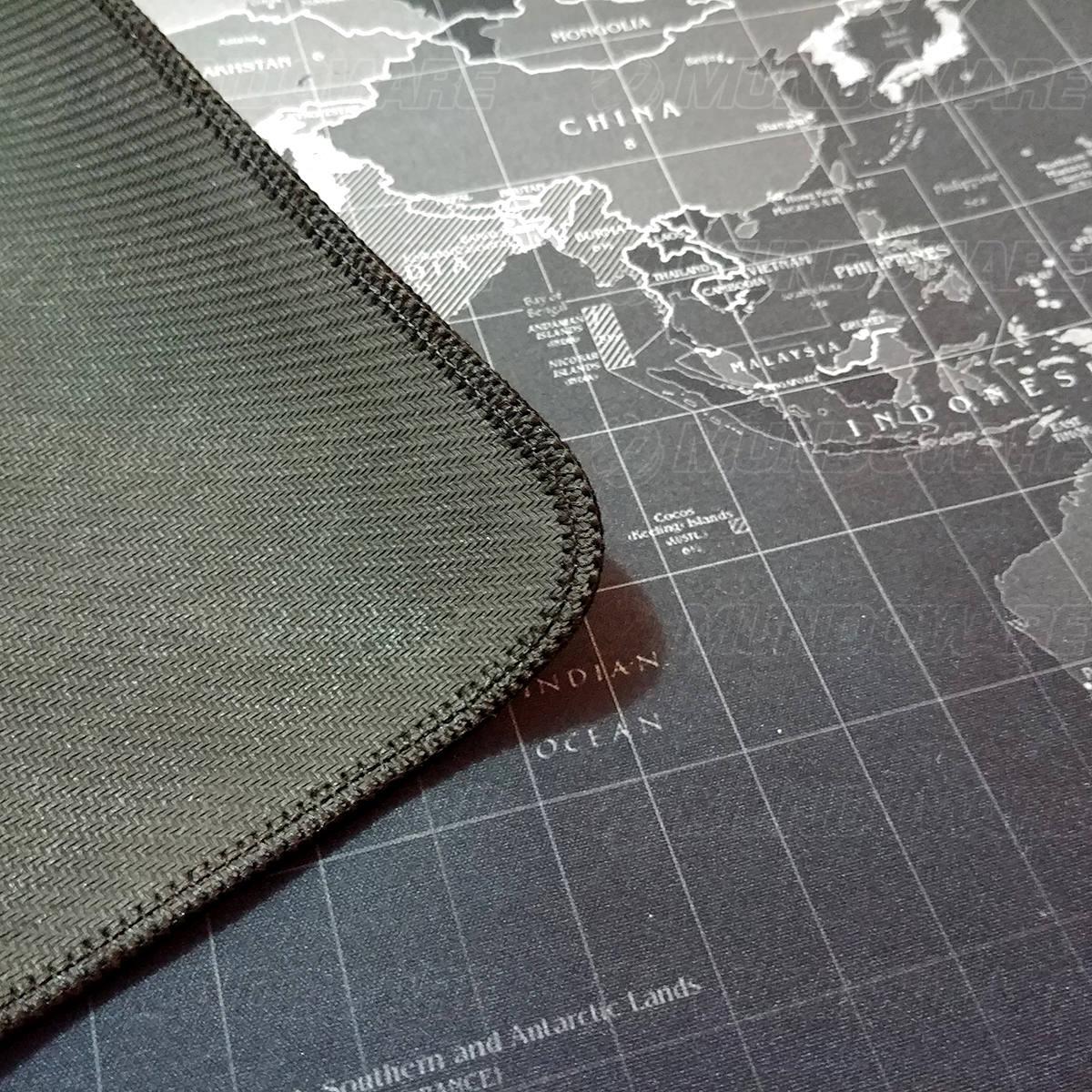 Mouse Pad Gamer Extra Grande 700x350x3mm Bordas Costuradas e Base Antiderrapante Exbom MP7035C Mapa Mundi
