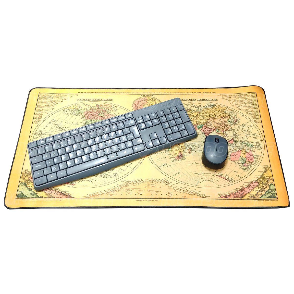 Mouse Pad Gamer Extra Grande 700x350x3mm com Bordas Costuradas e Base Antiderrapante Exbom MP7035 Mapa Mundi II