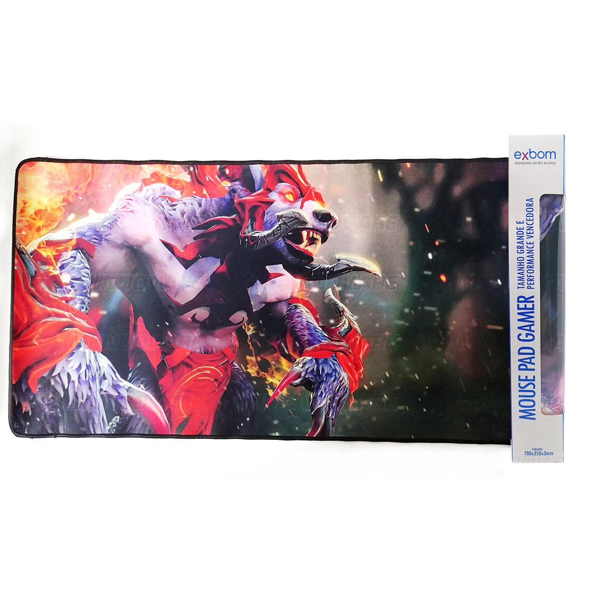Mouse Pad Gamer Extra Grande 700x350x3mm com Bordas Costuradas e Base Antiderrapante Modelo Rei Urso Exbom MP-7035C