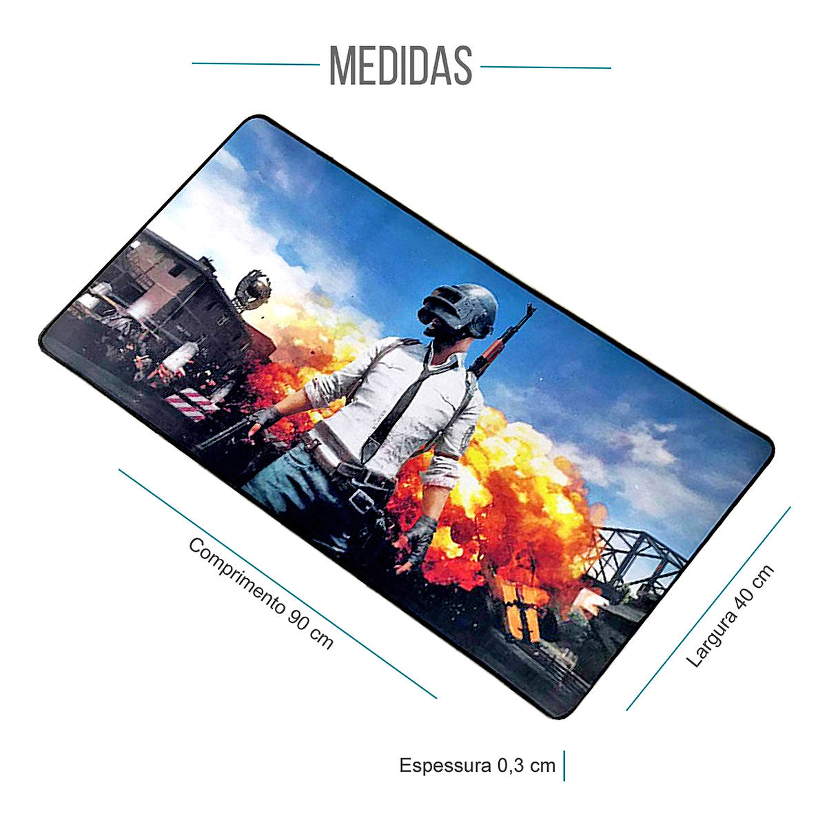 Mouse Pad Gamer Gigante 900x400x3mm com Base Antiderrapante e Bordas Costuradas Exbom MP9040A PU Missão