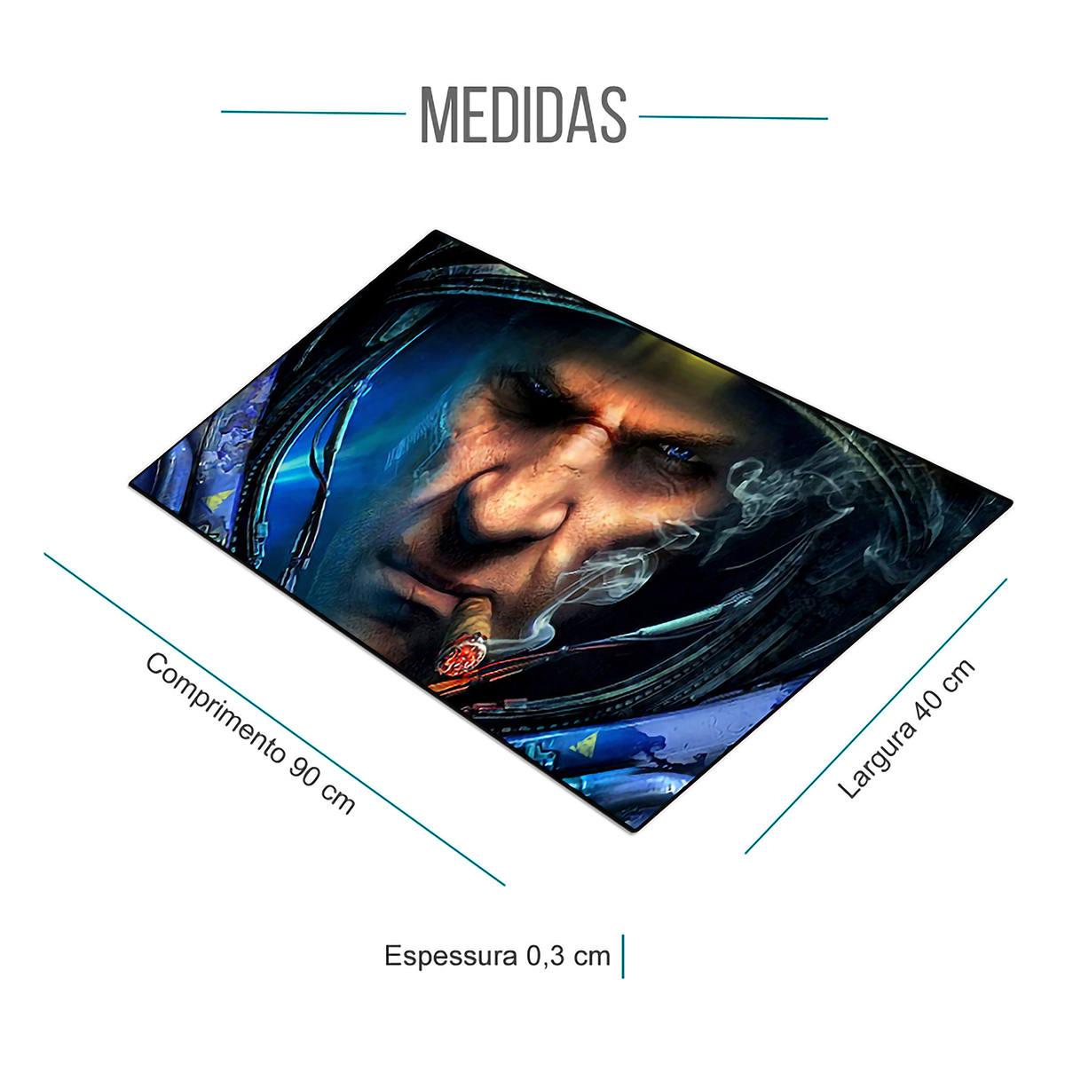 Mouse Pad Gaming Gigante 900x400x3mm com Base Antiderrapante e Bordas Costuradas Exbom 9040A08 Capitão