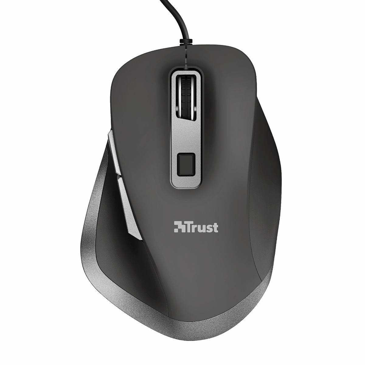 Mouse USB Comfort com 6 Botões Apoio para Polegar DPI Ajustável até 5000 Trust Fyda