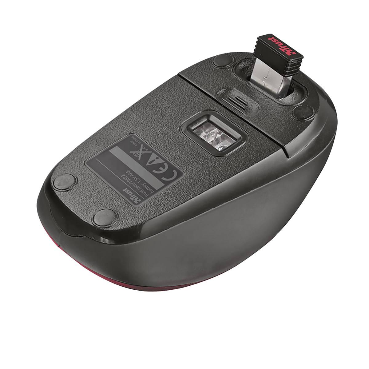 Mouse Wireless Compacto com Botão Seletor de DPI Micro Receptor USB Acompanha Pilha Trust Yvi Vermelho
