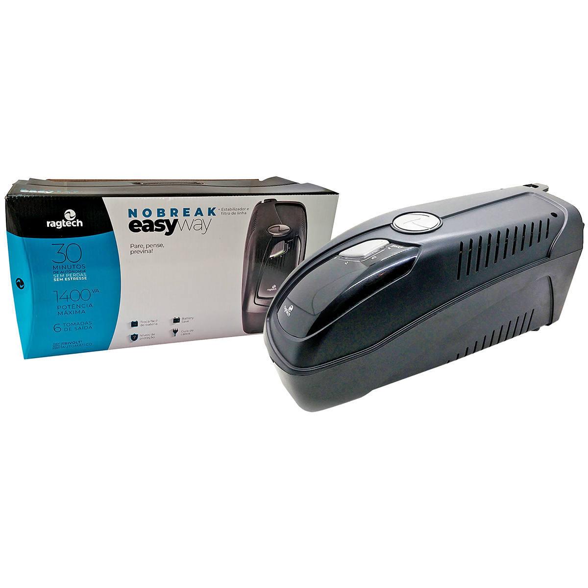 Nobreak 1400VA 980W 6 Tomadas PWM USB True RMS Entrada 115/127/220V Saída 115V Troca Fácil de Bateria Ragtech 4156