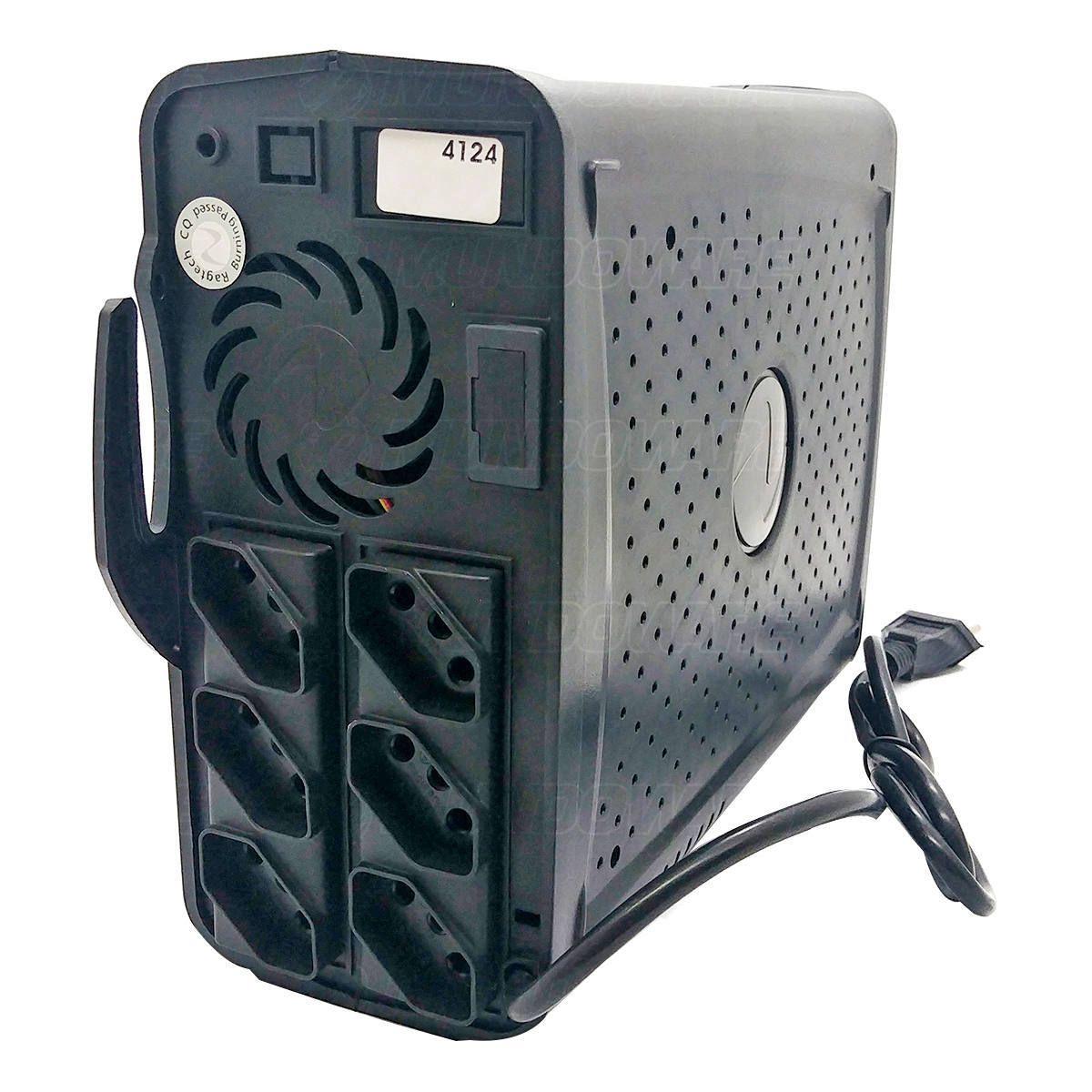 Nobreak 220V E/S Monovolt 700VA 350W PWM 6 Tomadas Troca Fácil de Bateria com 7 Níveis de Proteção Ragtech 4124