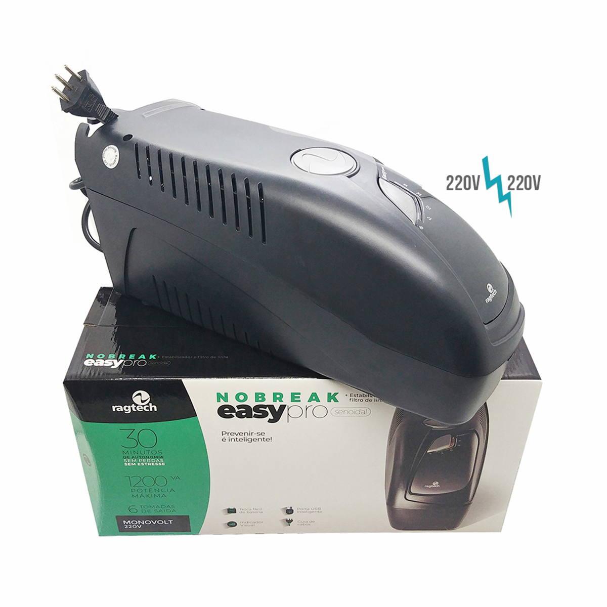 Nobreak 220V Senoidal Puro 1200VA 840W Entrada e Saída 220V Porta USB Inteligente + Estabilizador e Filtro Ragtech 4163
