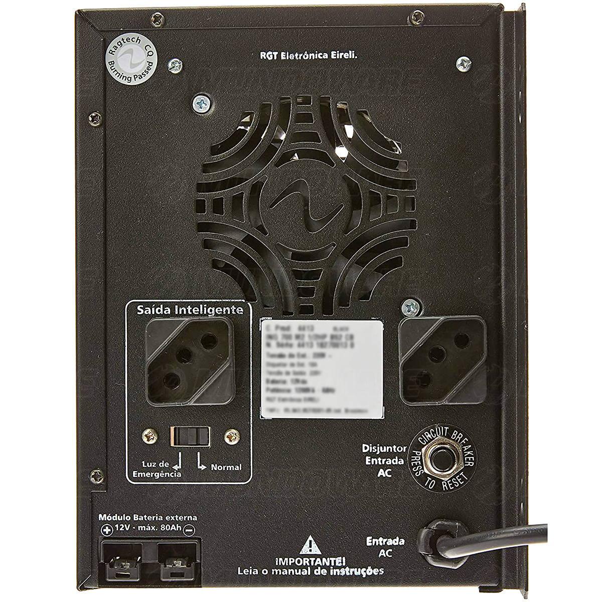Nobreak de Portão Eletrônico Senoidal Puro 1/2HP 700VA 2 Baterias Internas de 7Ah E.115/127/220V S.115V Ragtech 4411