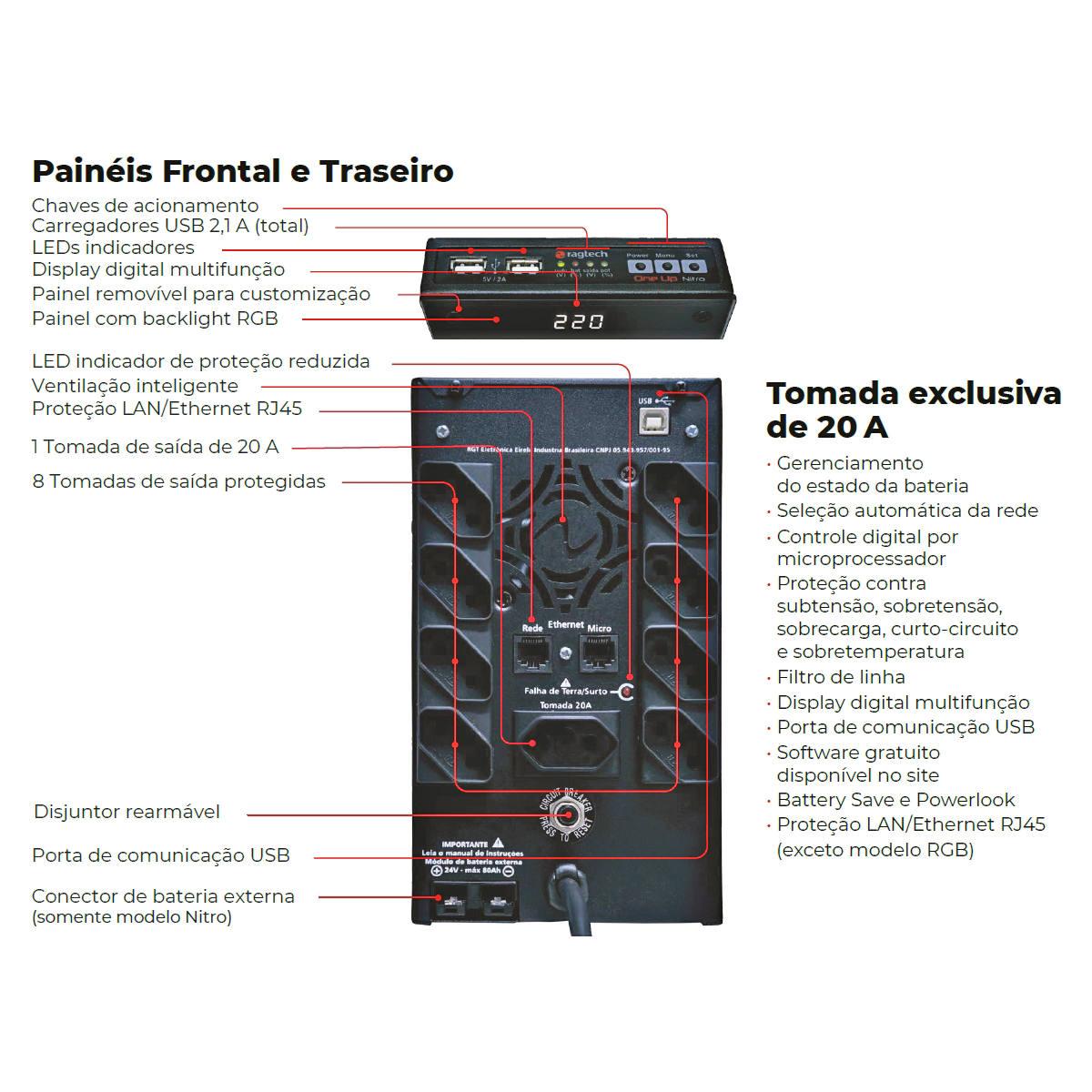 Nobreak Gamer OneUp Nitro 2000VA 1400W Senoidal Puro Bivolt Painel com Back Light Display Inteligente Ragtech 20ONE4590
