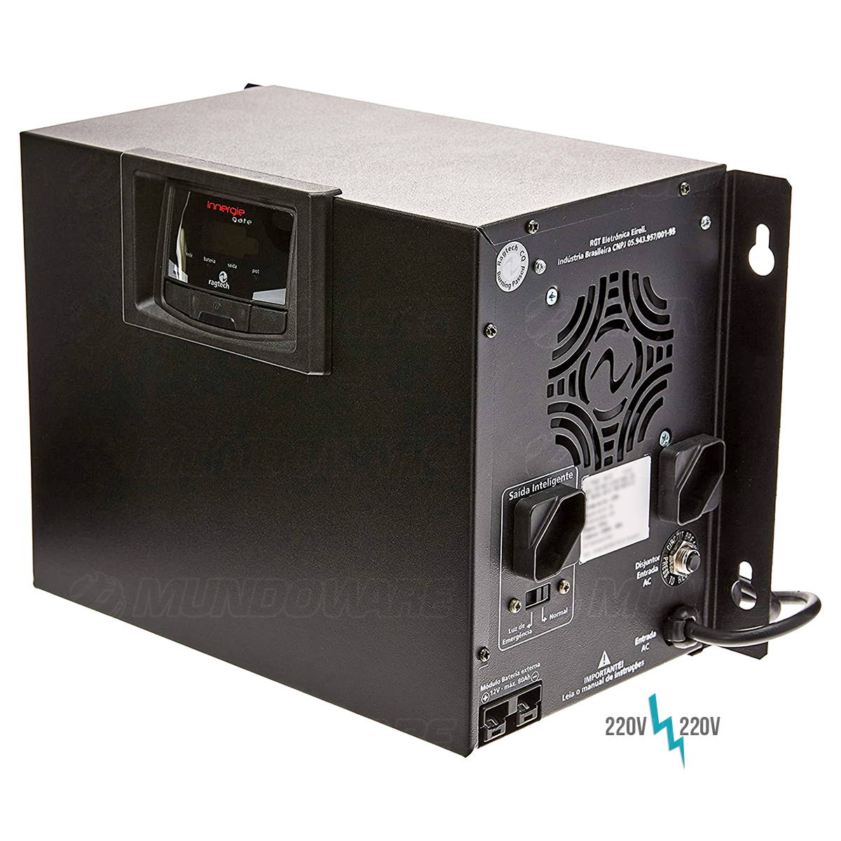 Nobreak para Portão Basculante Deslizante Pivotante 220V 1/2HP Senoidal 700VA 2 Baterias Internas de 7Ah Ragtech 4413