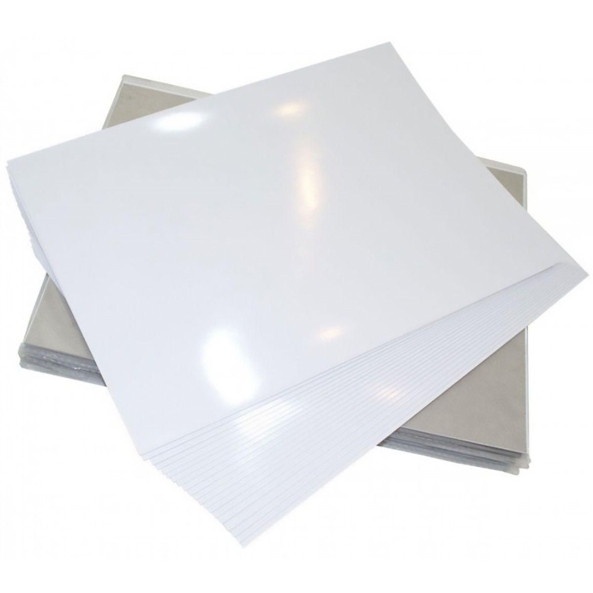 Papel Foto Adesivo A3 297mm x 420mm Fotográfico 130g Glossy Branco Brilhante / 20 Folhas