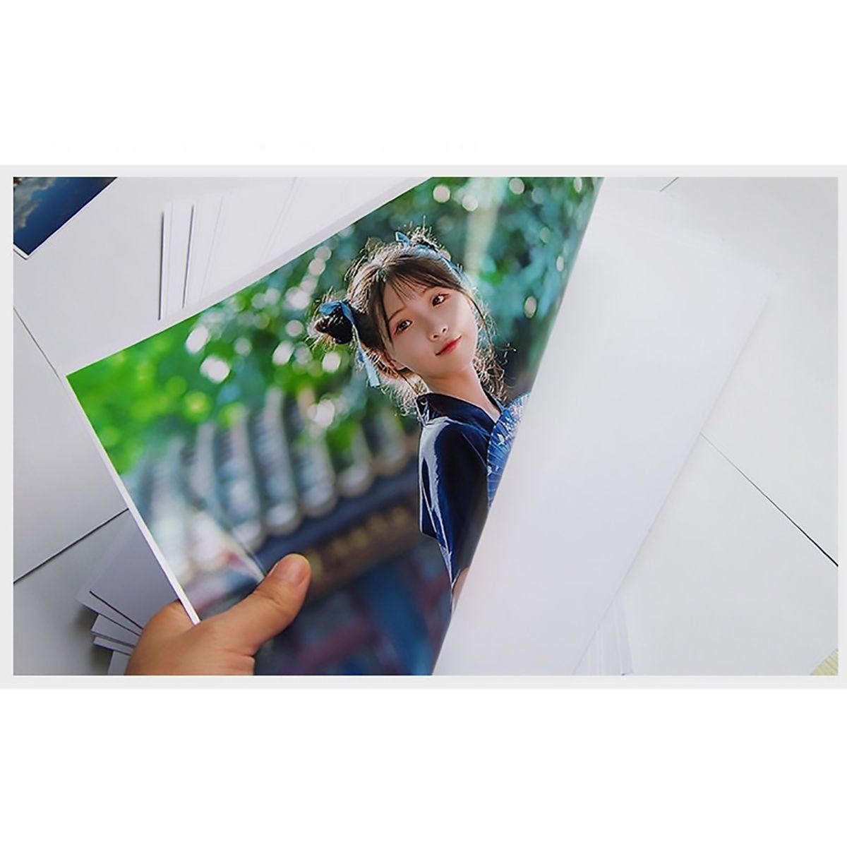 Papel Fotográfico A4 Dupla Face 180g Glossy Branco Brilhante Resistente à Água / 100 folhas