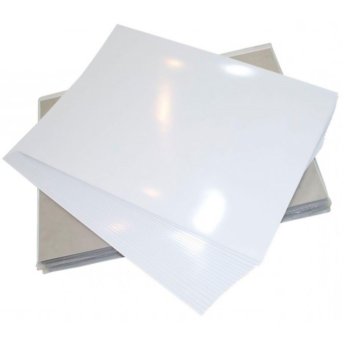 Papel Fotográfico Adesivo Glossy A4 130g Branco Brilhante Resistente à Água / 500 folhas