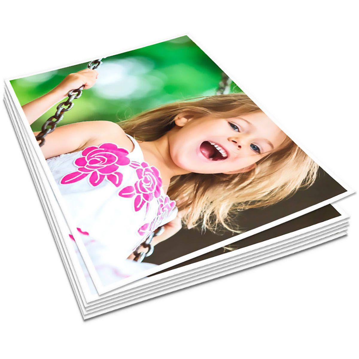 Papel Glossy Dupla Face 120g A4 Fotográfico Branco Brilhante Resistente à Água / 100 Folhas
