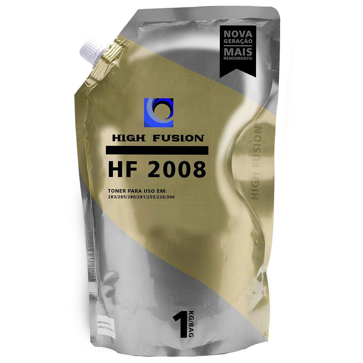 Pó de Toner High Fusion HF2008 HF1908 compatível para HP Universal de Alta e Baixa / Preto / Bag 1 kg