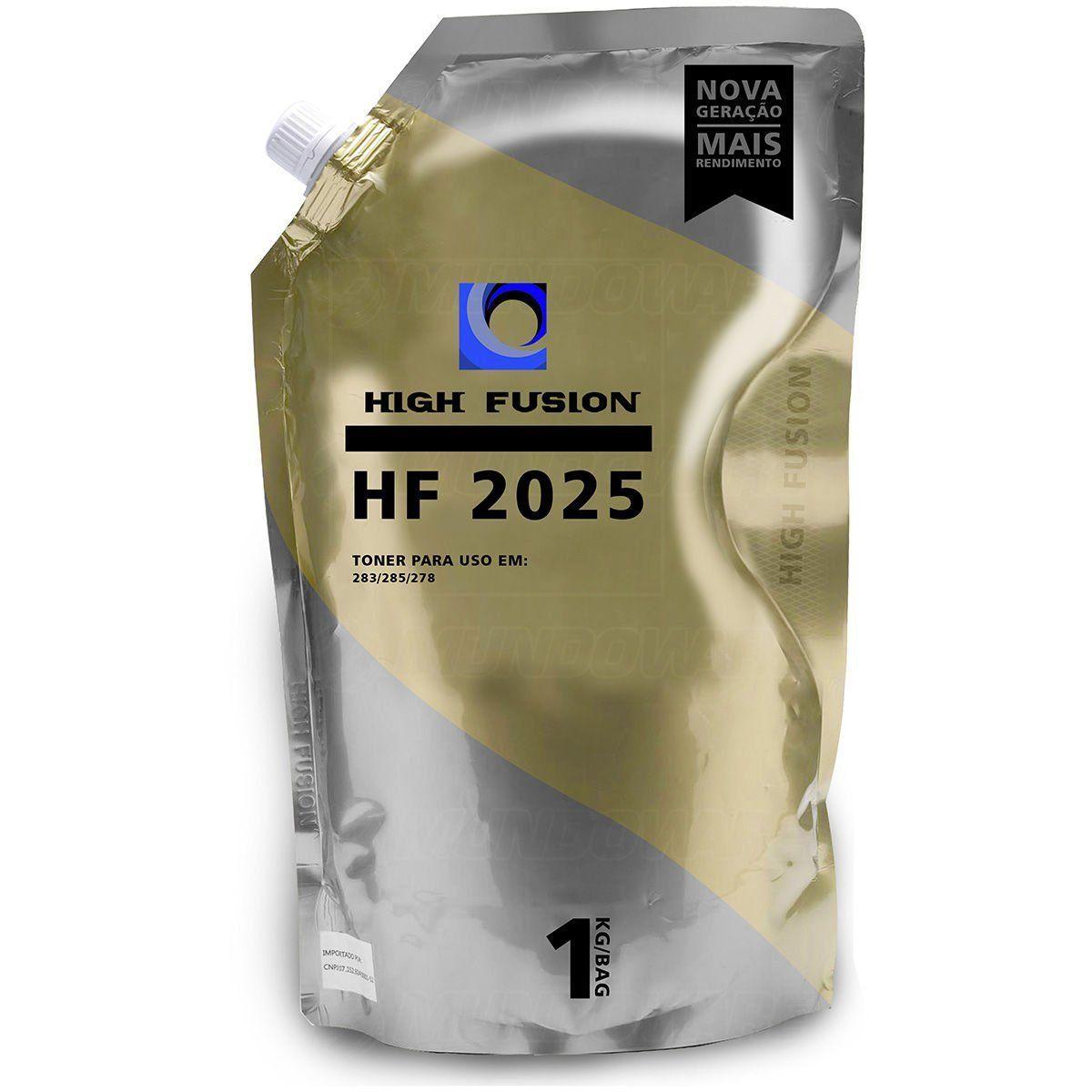 Pó de Toner High Fusion HF2025 HF1925 compatível para HP 435A 436A 278A 285A 283A Carcaça Original / Preto / Bag 1 kg