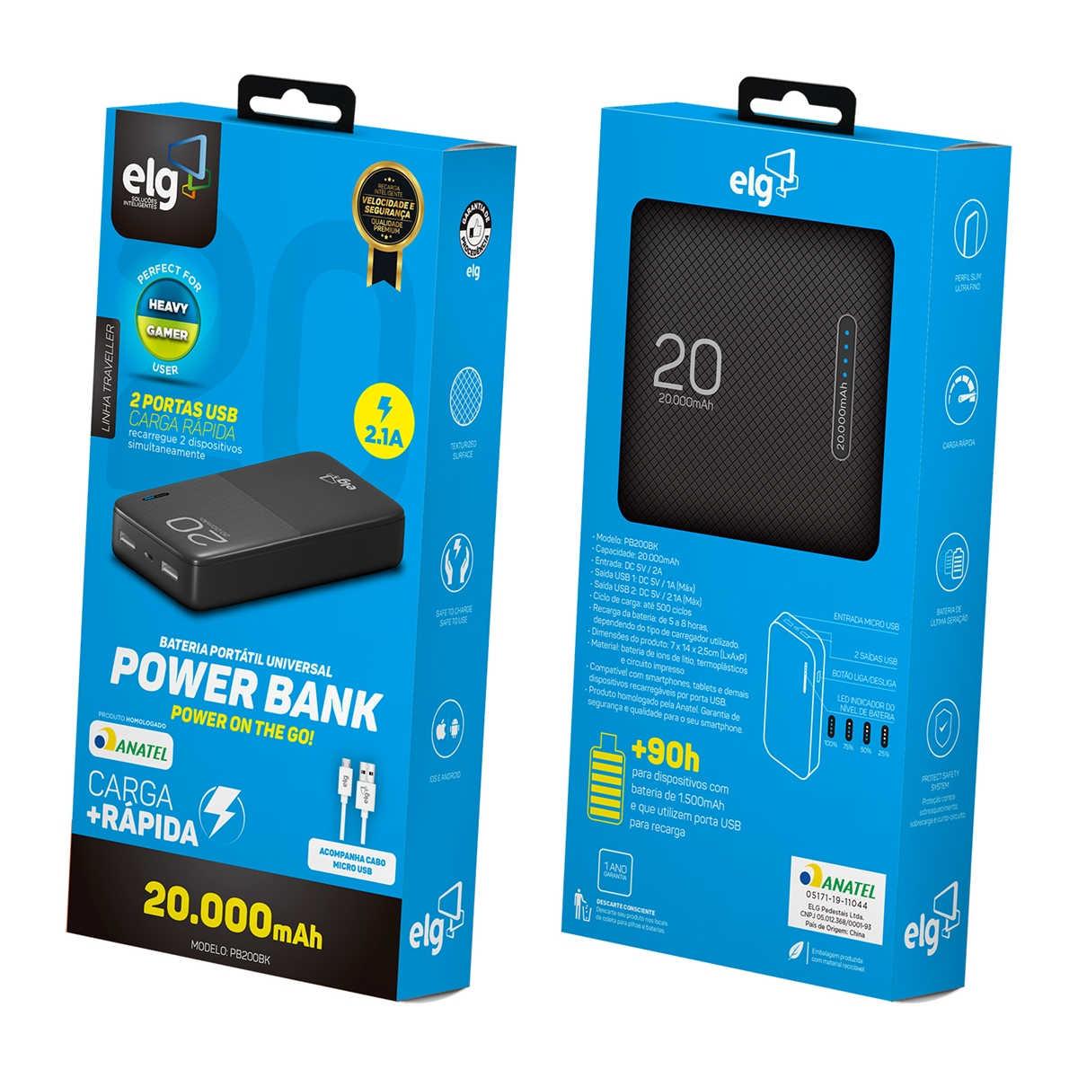 Power Bank 20.000mAh 2 USB LED indicador de Bateria Portátil Linha Traveller Homologado Anatel ELG PB200BK Preto