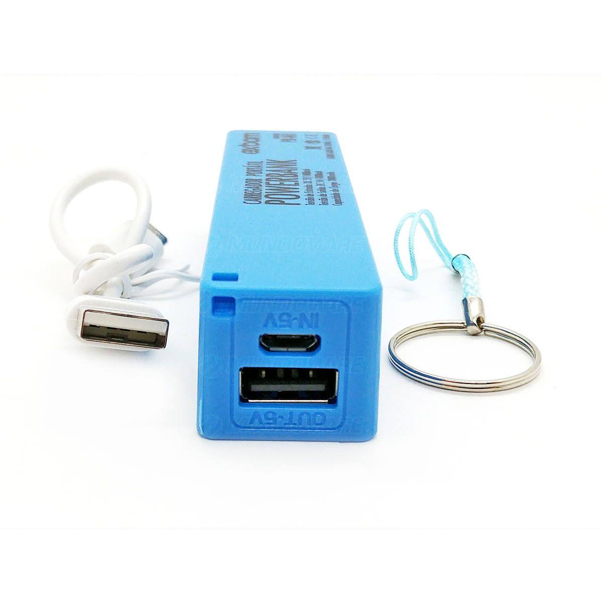 Power Bank Bateria 2000mAh Carregador Portátil Pequeno de Bolso para Celular Exbom PB-M1 Azul