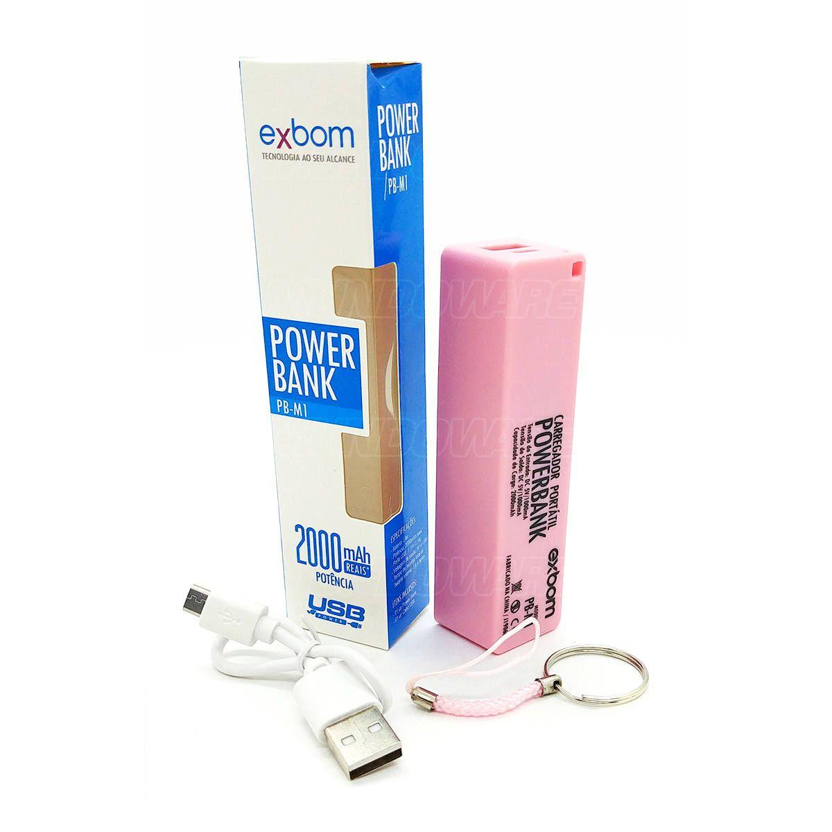 Power Bank Bateria 2000mAh Carregador Portátil Pequeno de Bolso para Celular Exbom PB-M1 Rosa