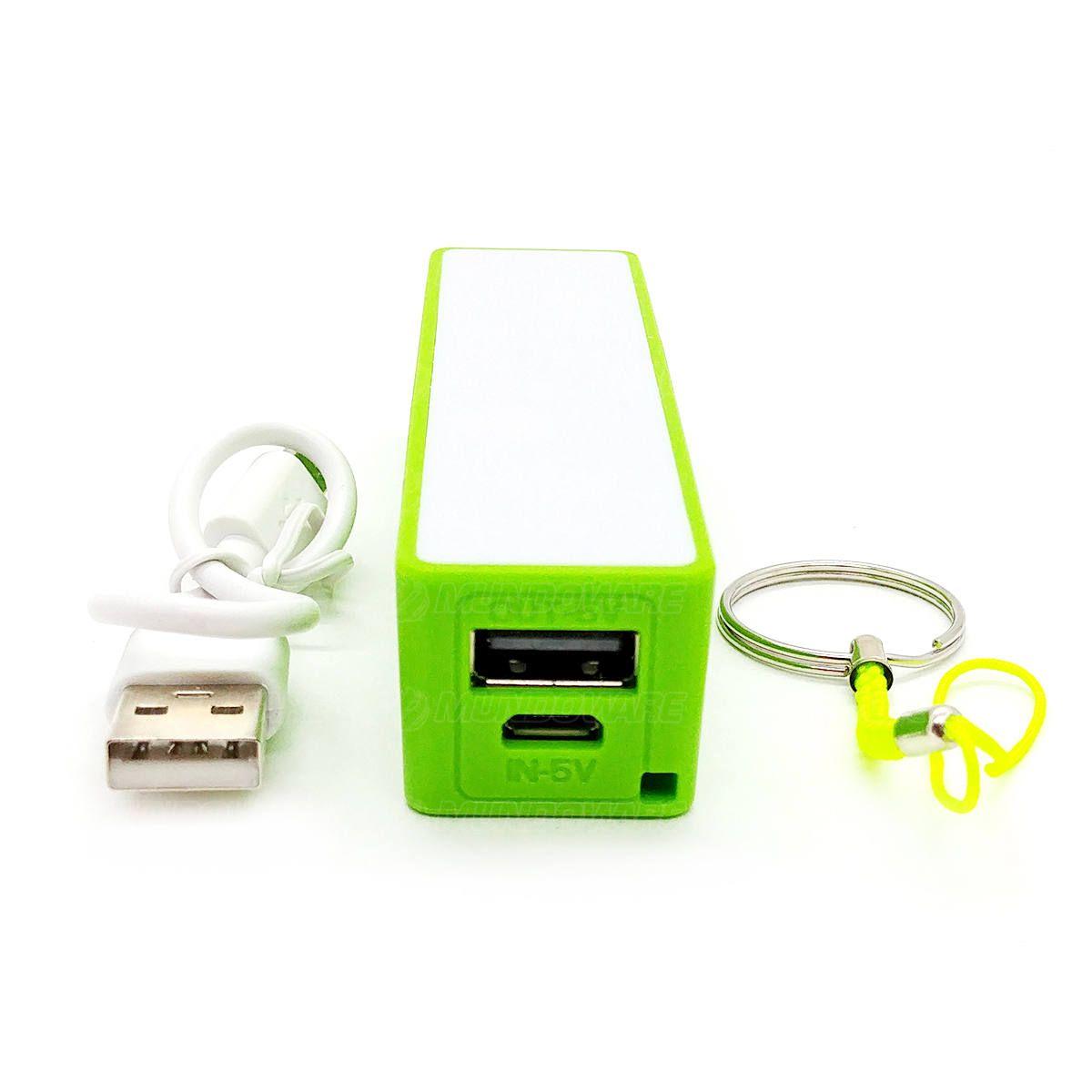Power Bank Bateria 2000mAh Carregador Portátil Pequeno de Bolso para Celular Exbom PB-M1 Verde