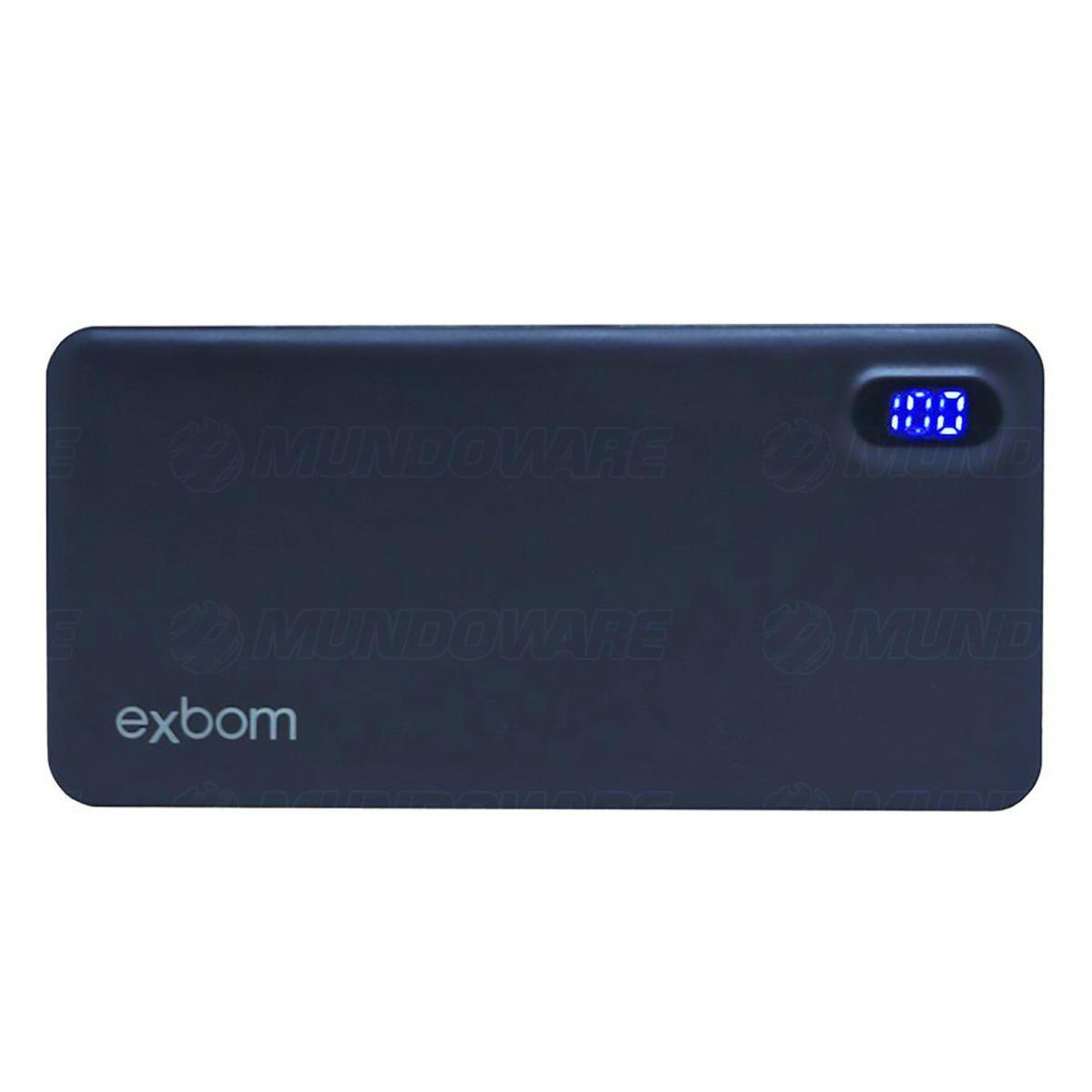 Power Bank Bateria Portátil para Celular de 10.000mAh com Display LED Indicador de Carga Exbom PB-M81Slim Preto
