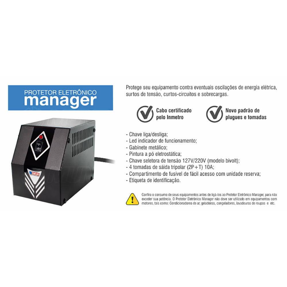 Protetor Eletrônico 1200W 2KVA Bivolt E127/220V S115V 4 Tomadas 10A Cabo Certificado Gabinete Metálico Emplac F60010