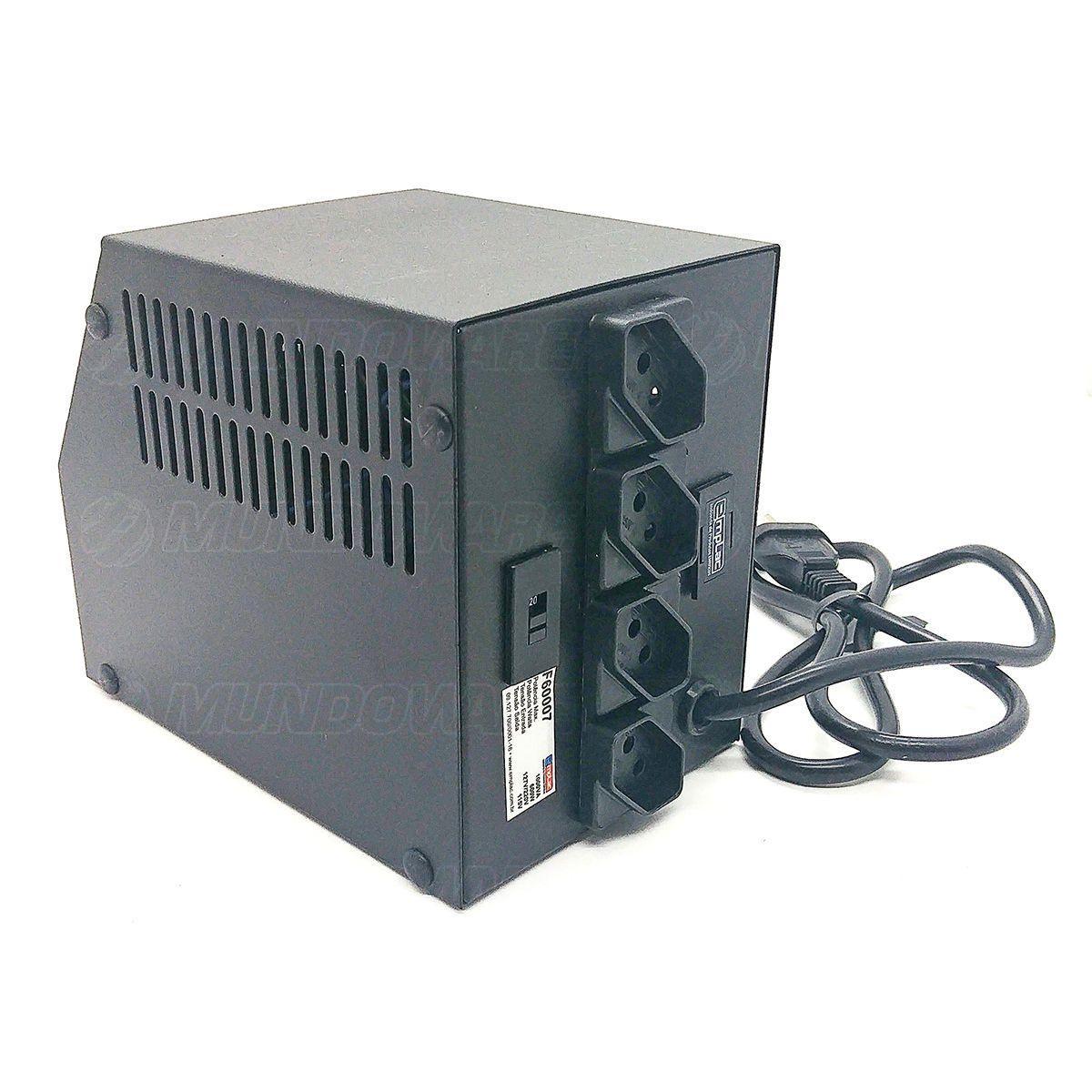 Protetor Eletrônico 1KVA 600W Bivolt E127V/220V S115V 10A Gabinete Metálico Ideal para Impressora Laser Emplac F60007
