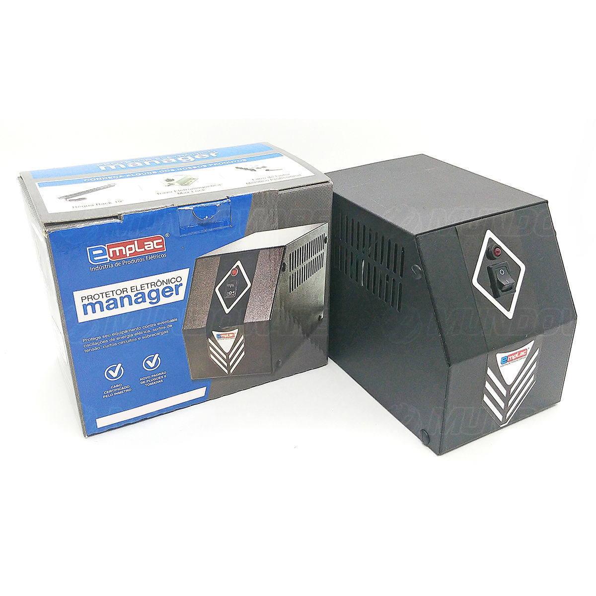 Protetor Eletrônico 220V 1200W 2000VA Mono E220V S220V 4 Tomadas 10A Cabo Certificado Gabinete Metálico Emplac F60009